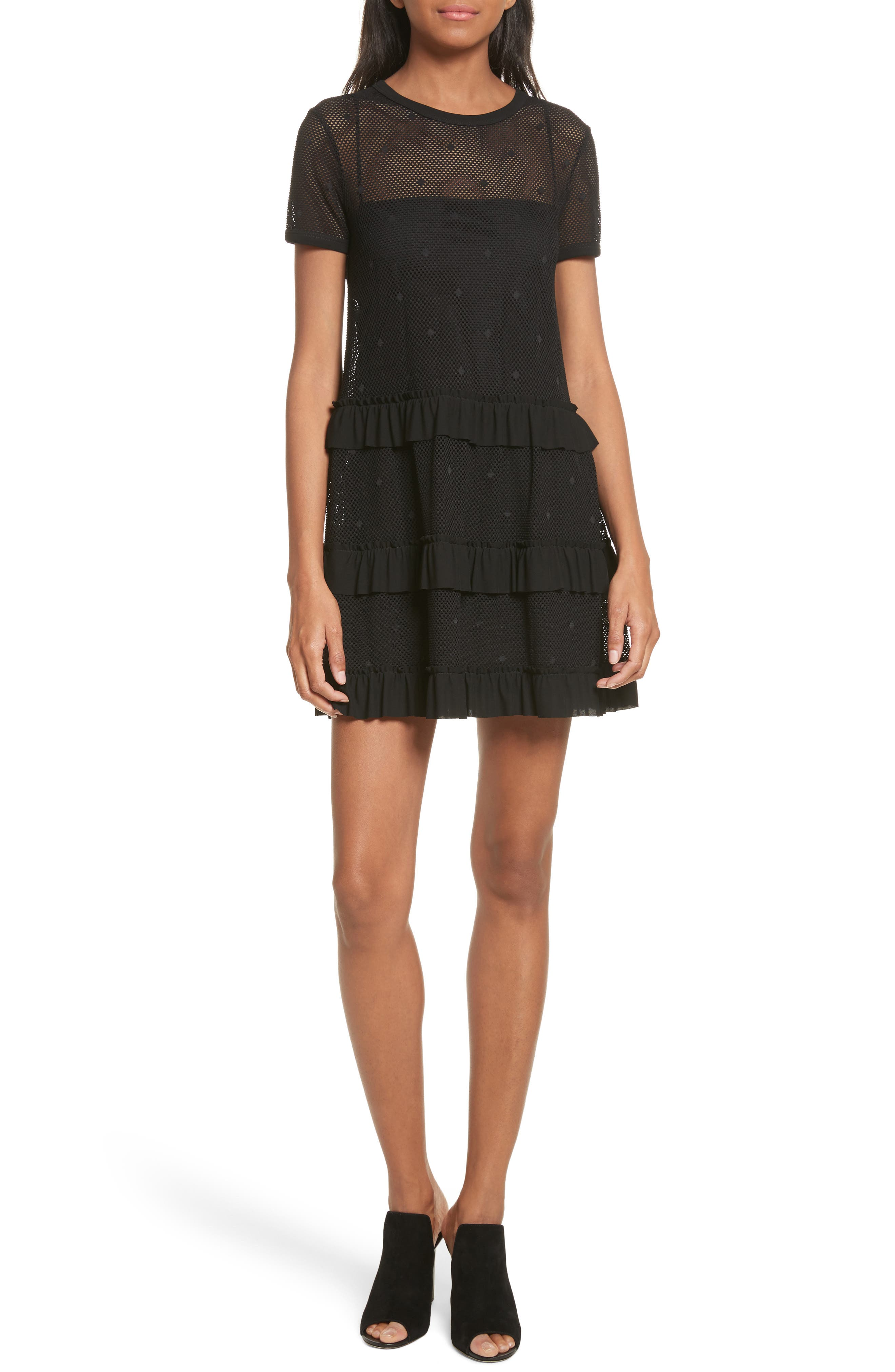 Main Image - RED Valentino Jersey Mesh Point d'Esprit Dress