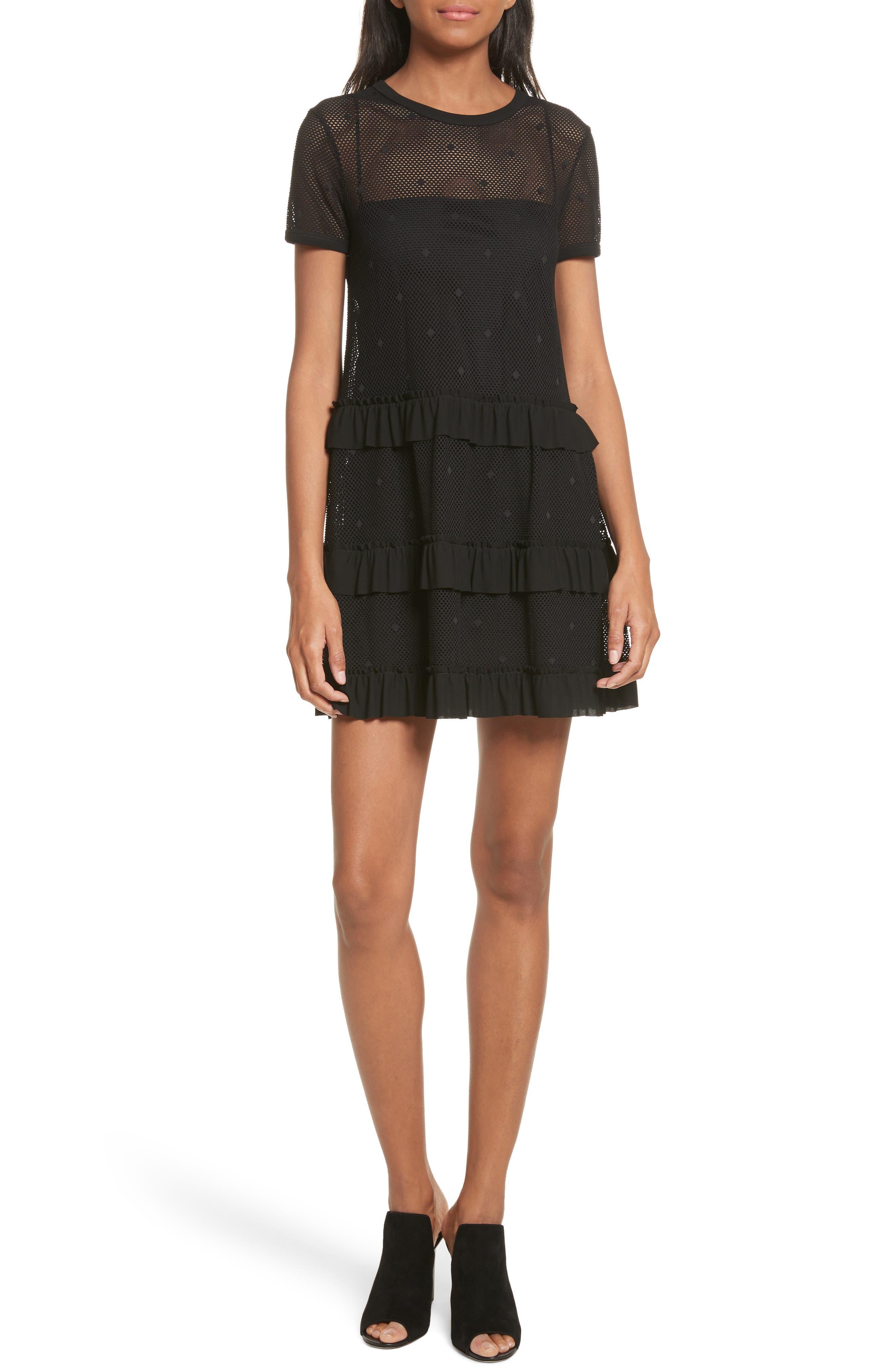 Jersey Mesh Point d'Esprit Dress,                         Main,                         color, Black