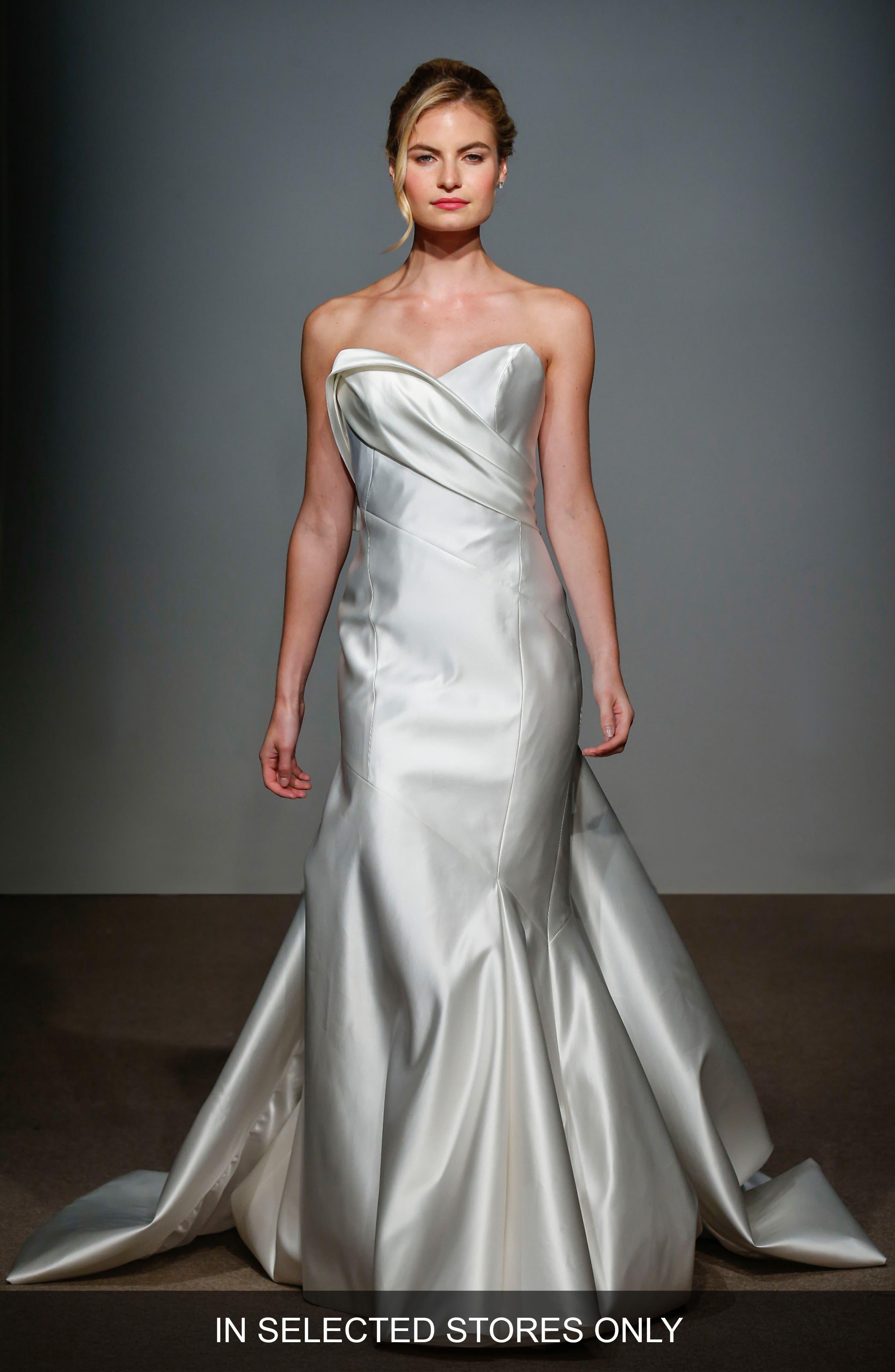Main Image - Anna Maier Couture Daryl Asymmetrical Seam Satin Mermaid Gown