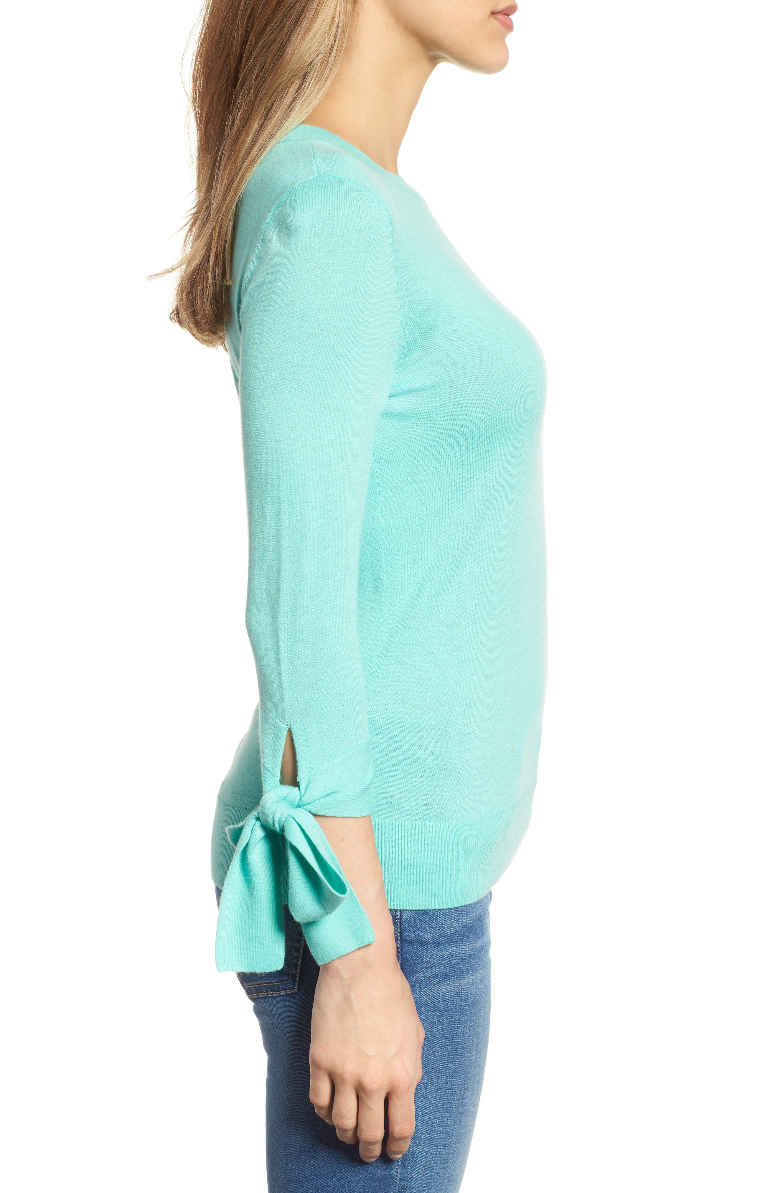 Tie Sleeve Crewneck Sweater,                             Alternate thumbnail 3, color,                             Green Largo