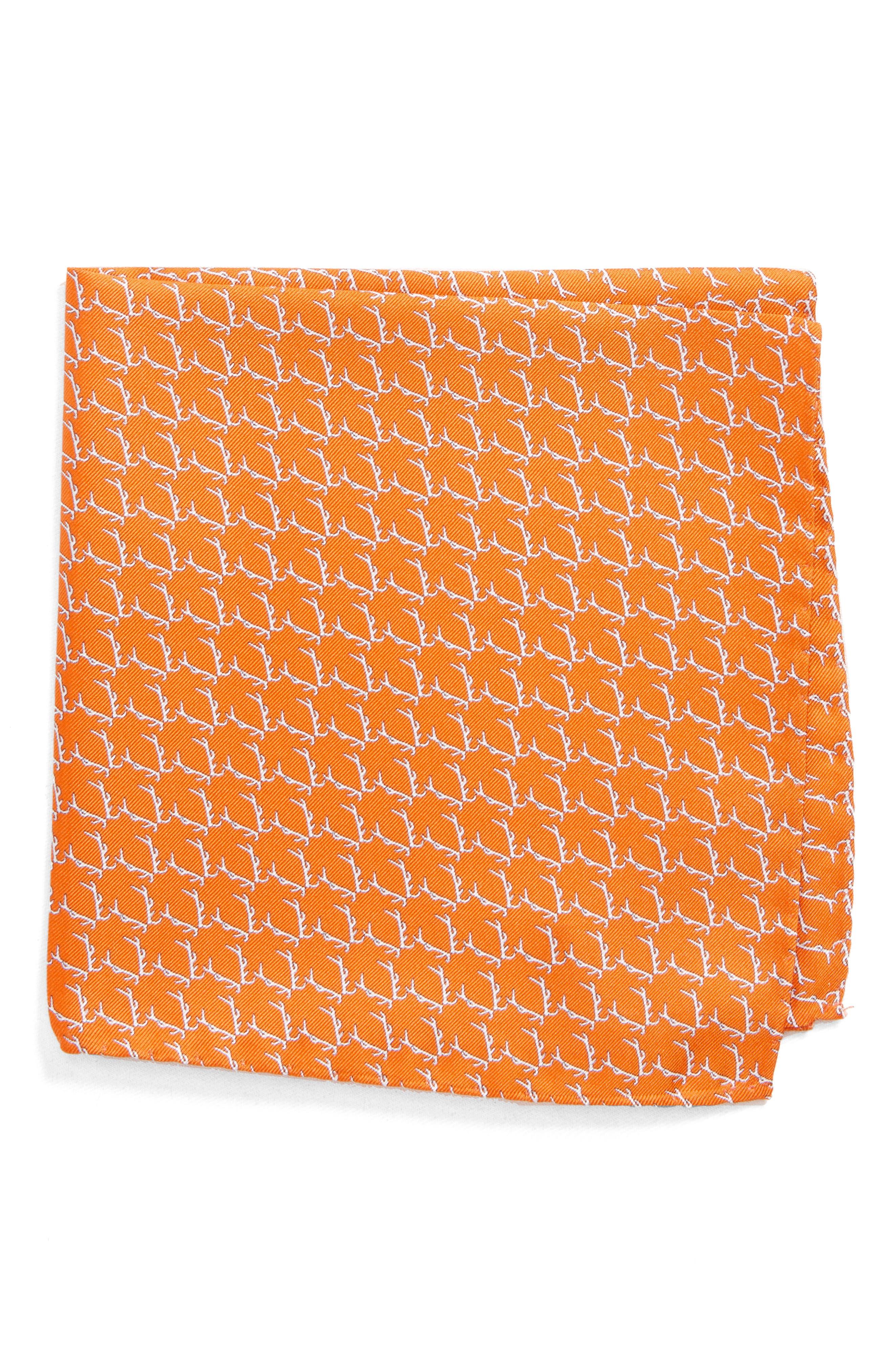 Buckwild Silk Pocket Square,                             Main thumbnail 1, color,                             Orange