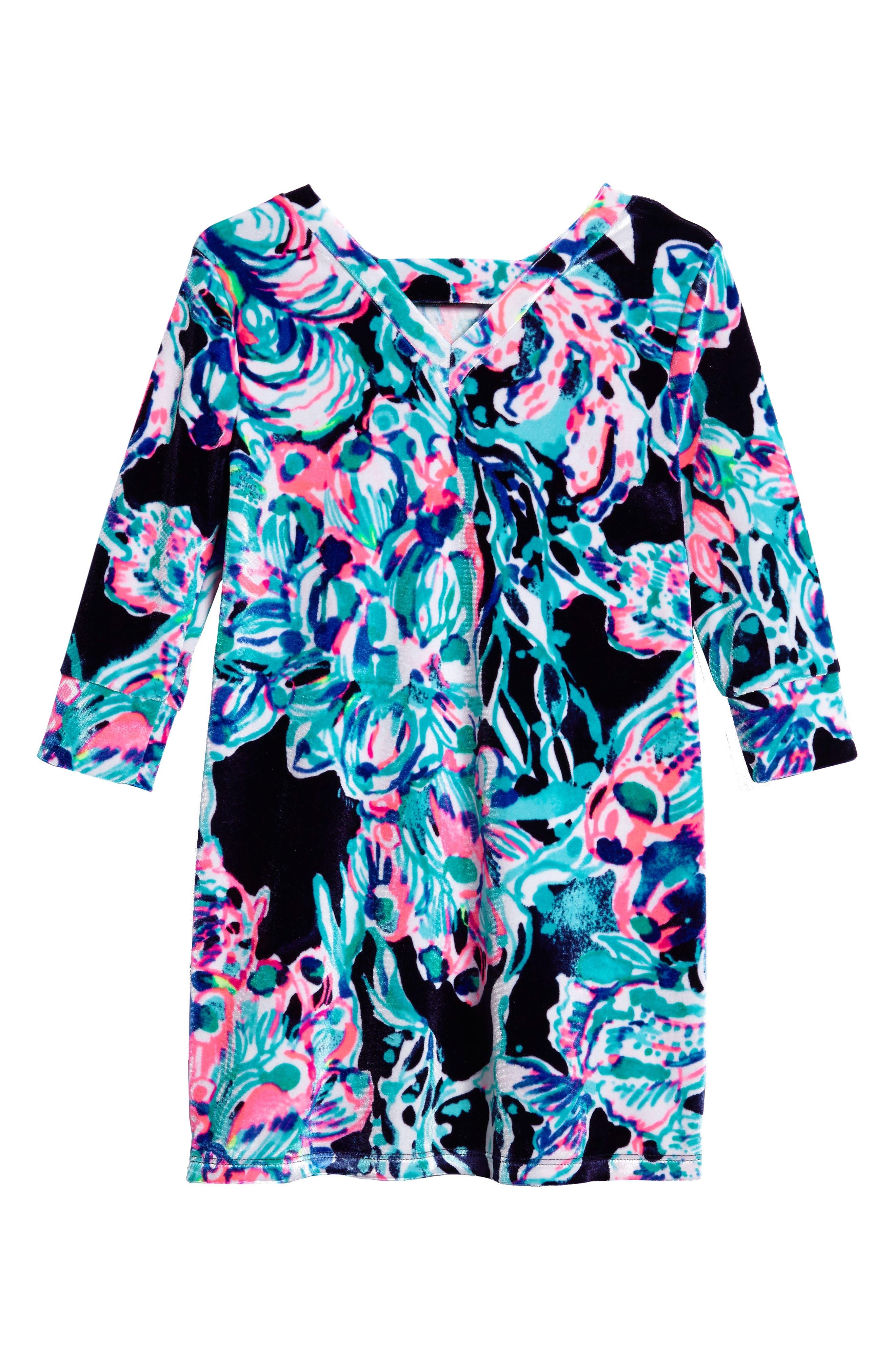 Alternate Image 2  - Lilly Pulitzer® Mini Olive Velour Dress (Toddler Girls, Little Girls & Big Girls)