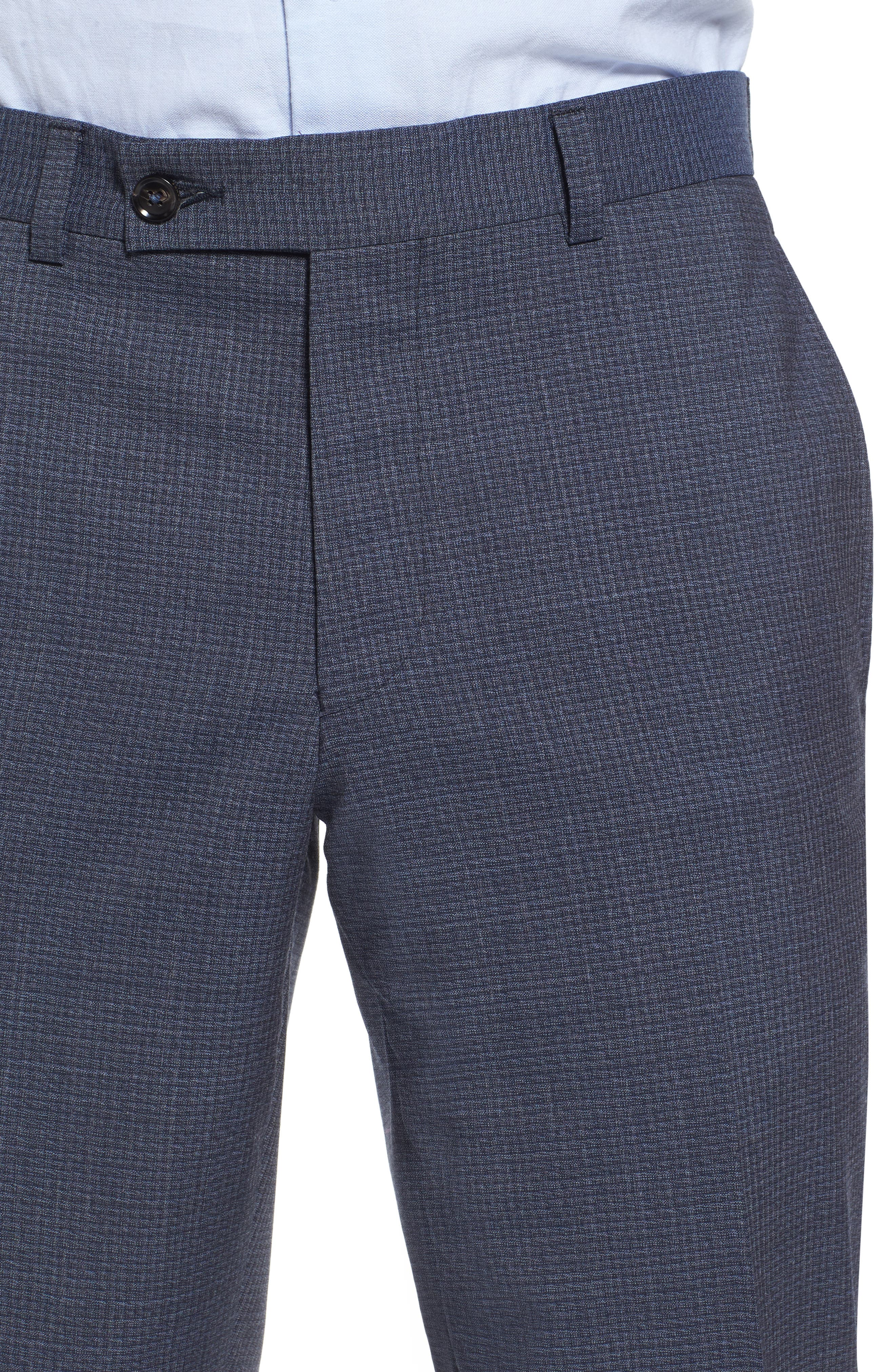 Flat Front Check Wool Trousers,                             Alternate thumbnail 4, color,                             Blue
