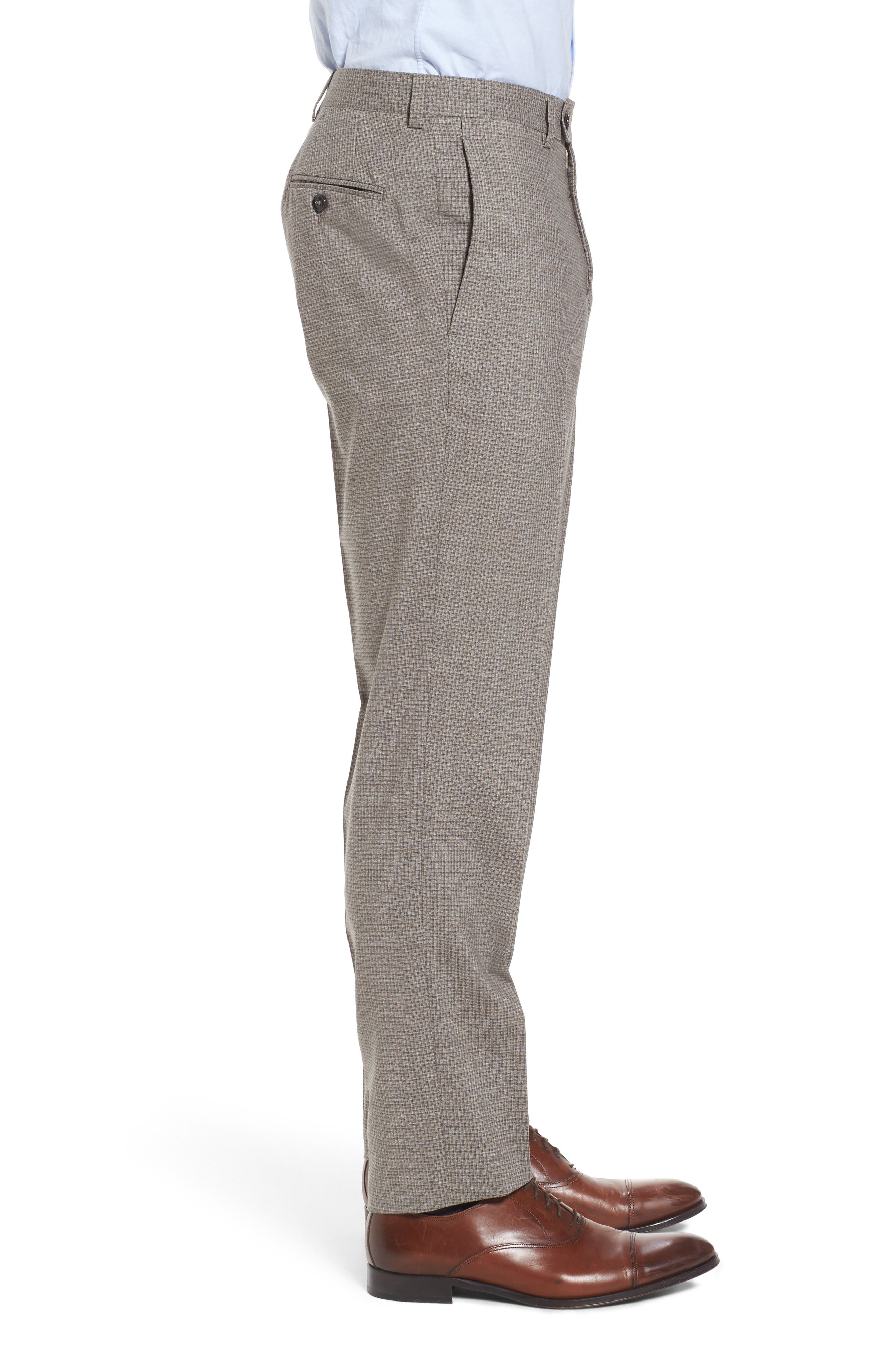 Flat Front Check Wool Trousers,                             Alternate thumbnail 3, color,                             Tan