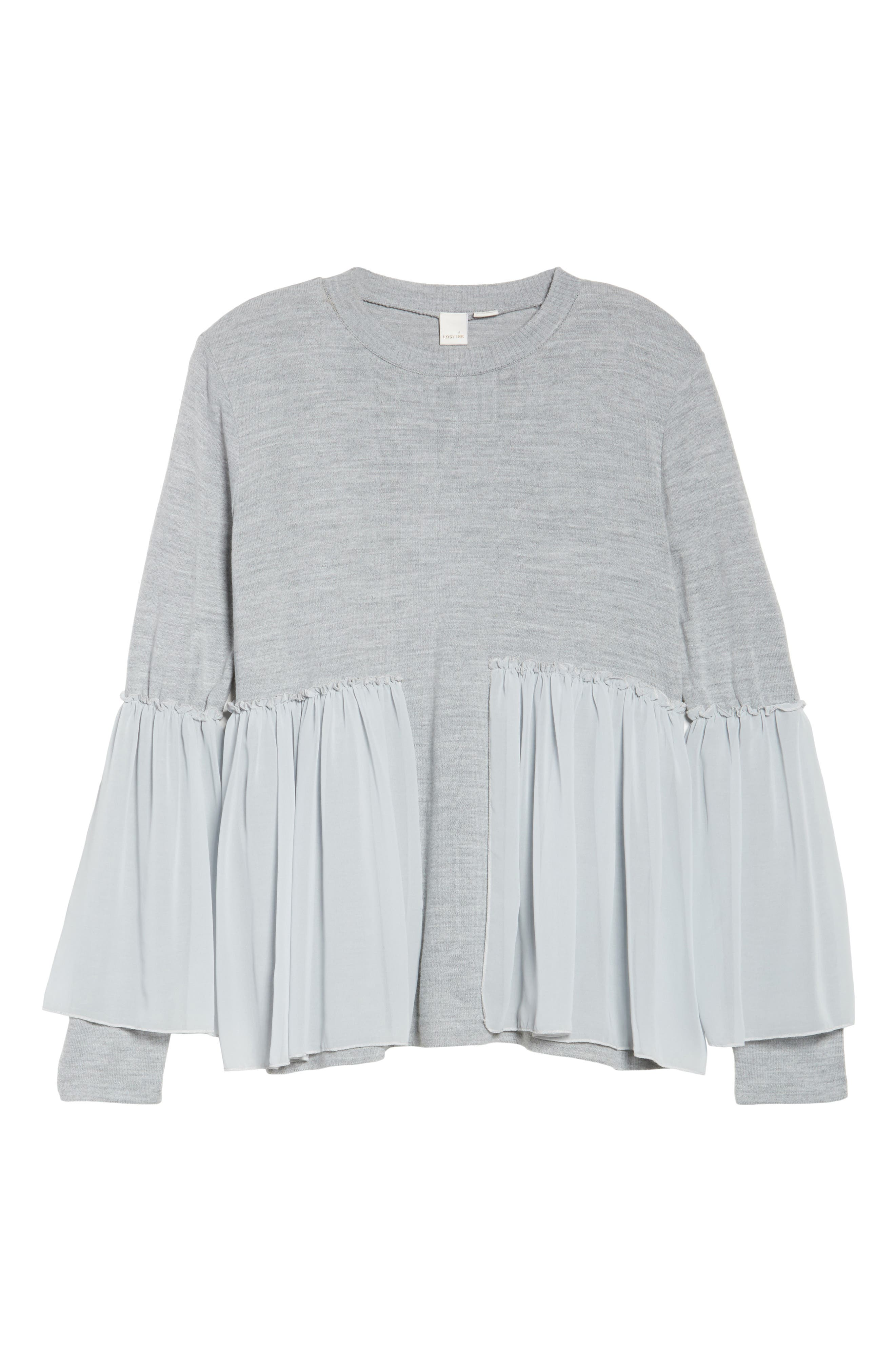 Smocked Chiffon Contrast Sweater,                             Alternate thumbnail 6, color,                             Grey