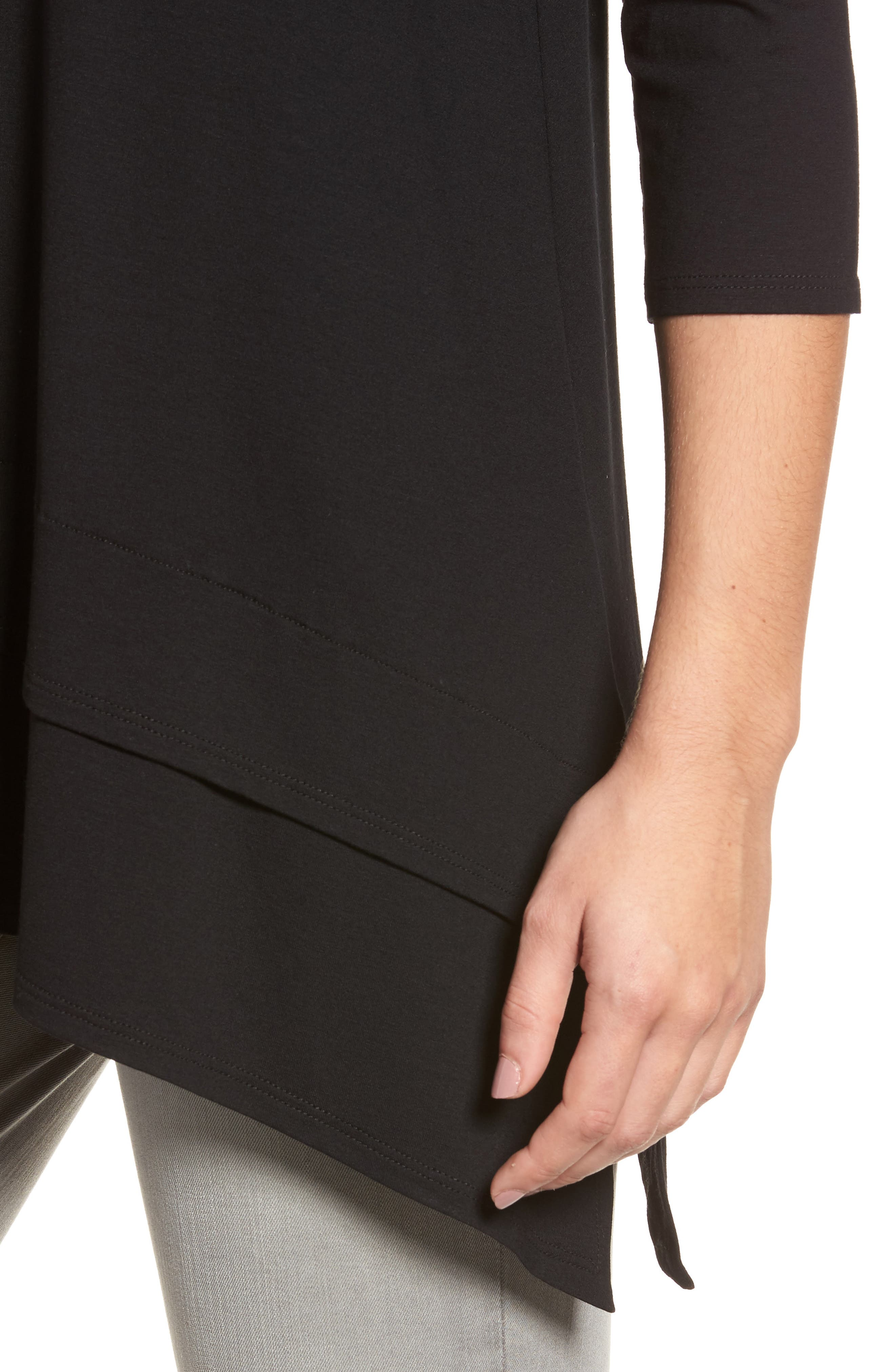 Tiered Handkerchief Hem Tunic,                             Alternate thumbnail 4, color,                             Black
