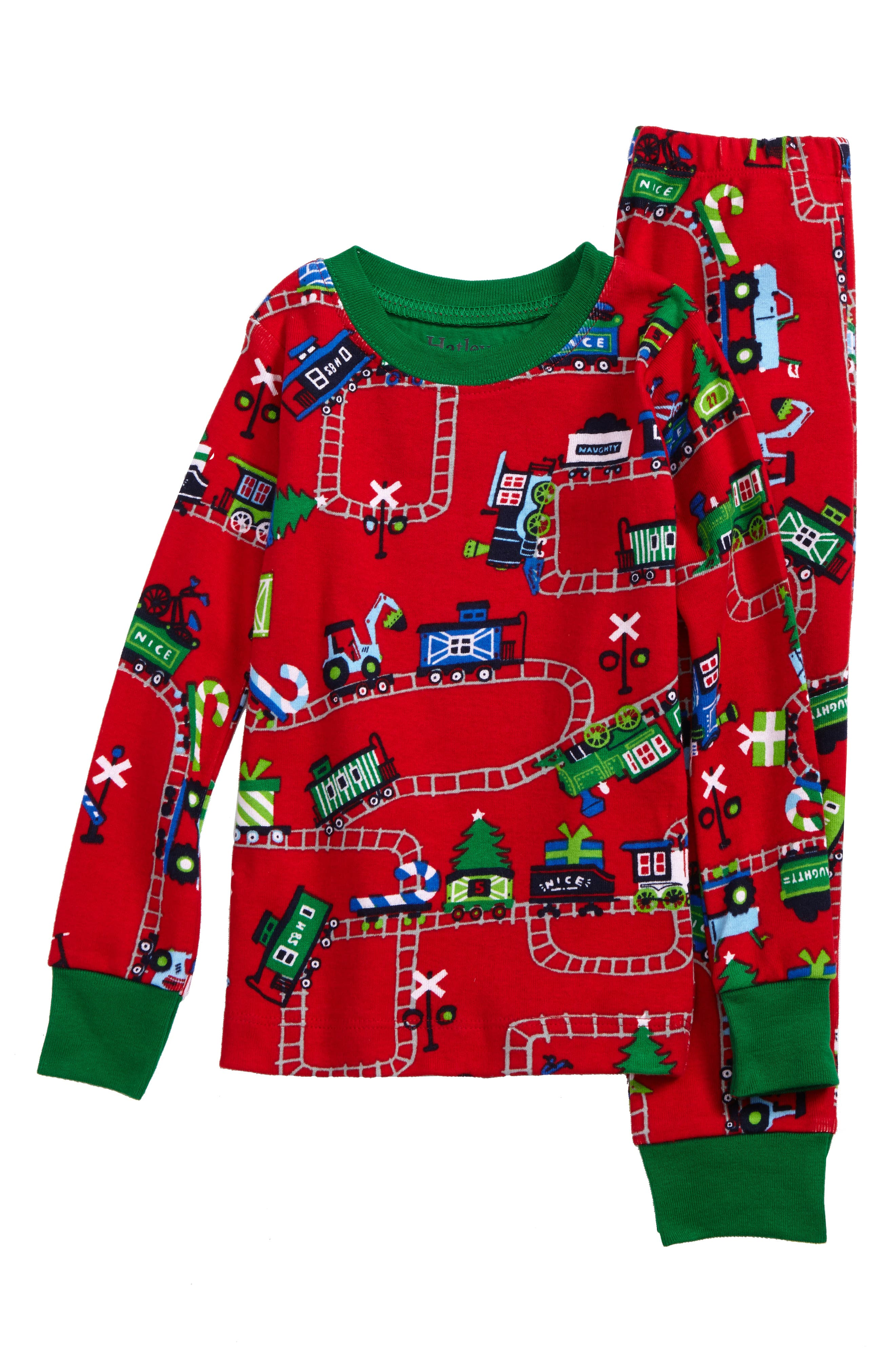 Organic Cotton Fitted Two-Piece Pajamas,                         Main,                         color, Magical Christmas Train