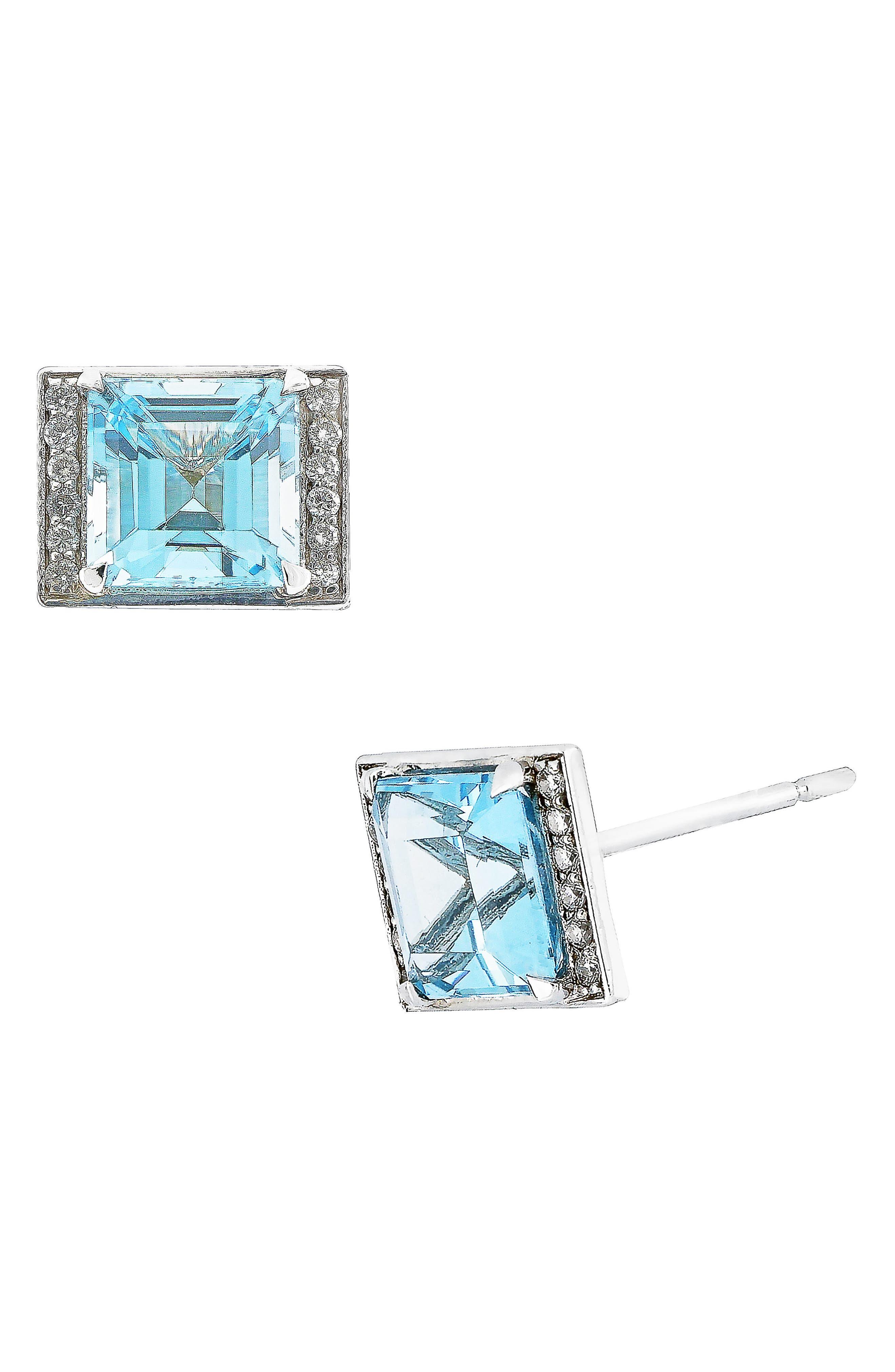 Aquamarine & Diamond Stud Earrings,                             Main thumbnail 1, color,                             White Gold