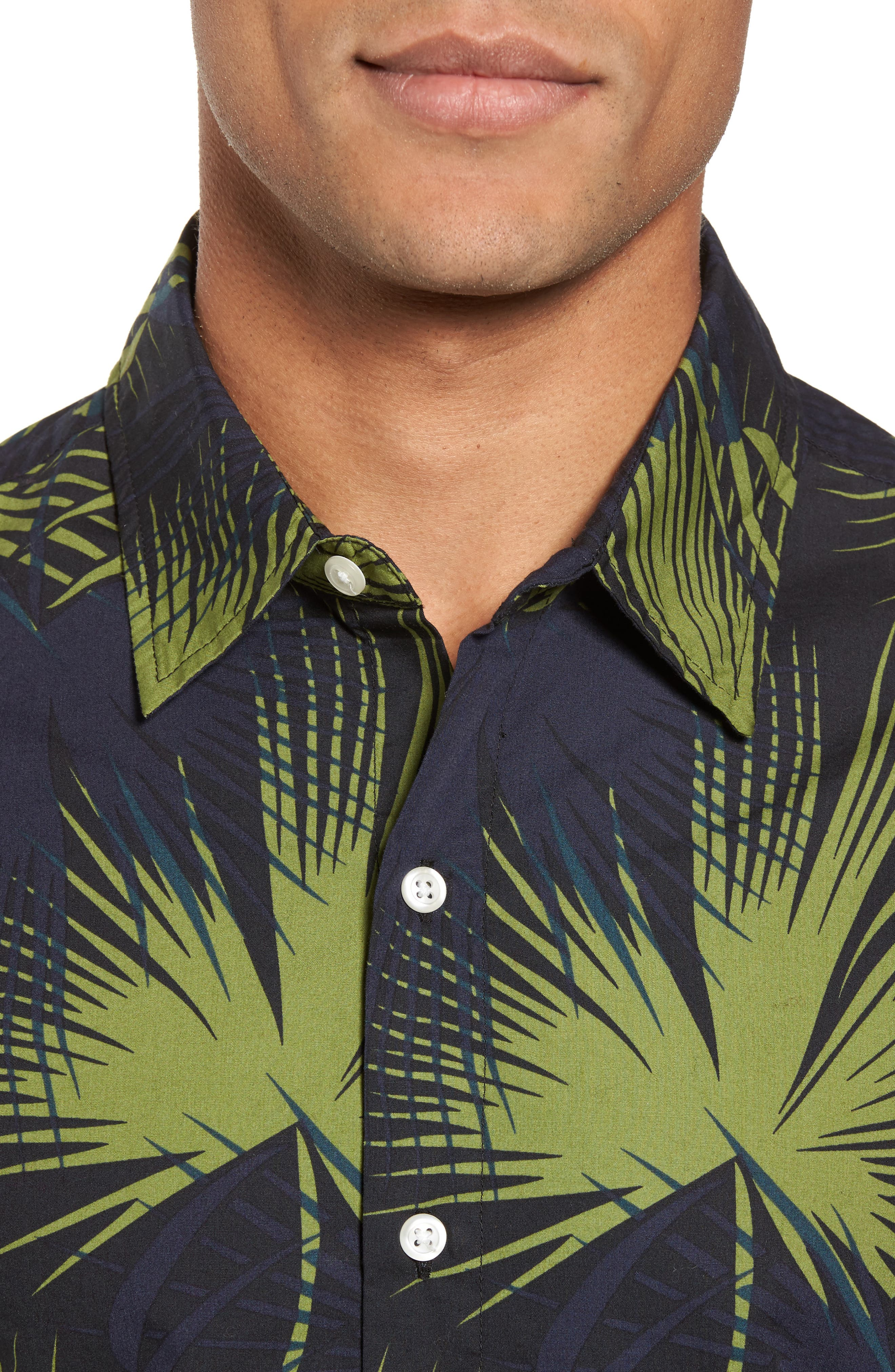 Slim Fit Frond Print Sport Shirt,                             Alternate thumbnail 4, color,                             Palm Shade Calla Green