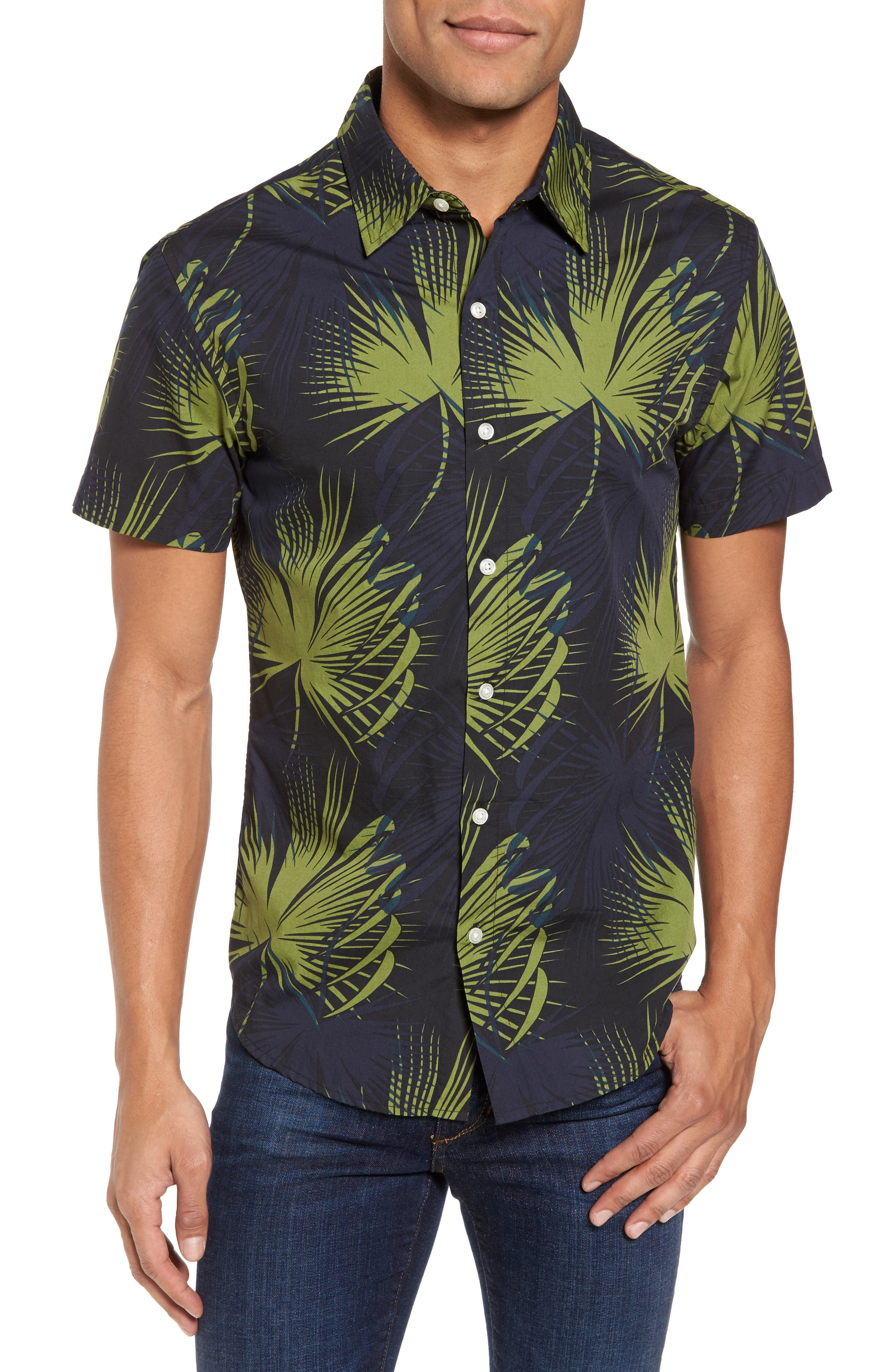 Slim Fit Frond Print Sport Shirt,                         Main,                         color, Palm Shade Calla Green