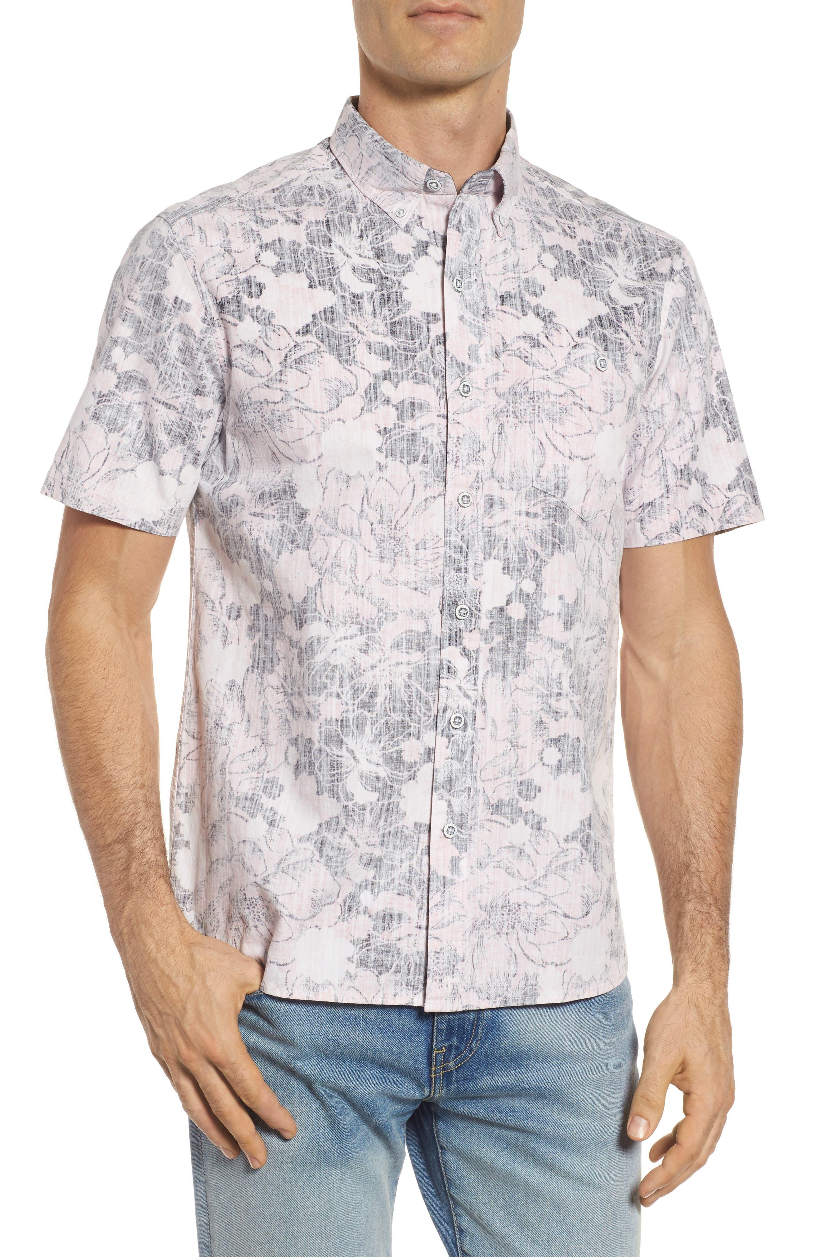 Seaspray Floral Sport Shirt,                             Main thumbnail 1, color,                             Soft Flamingo