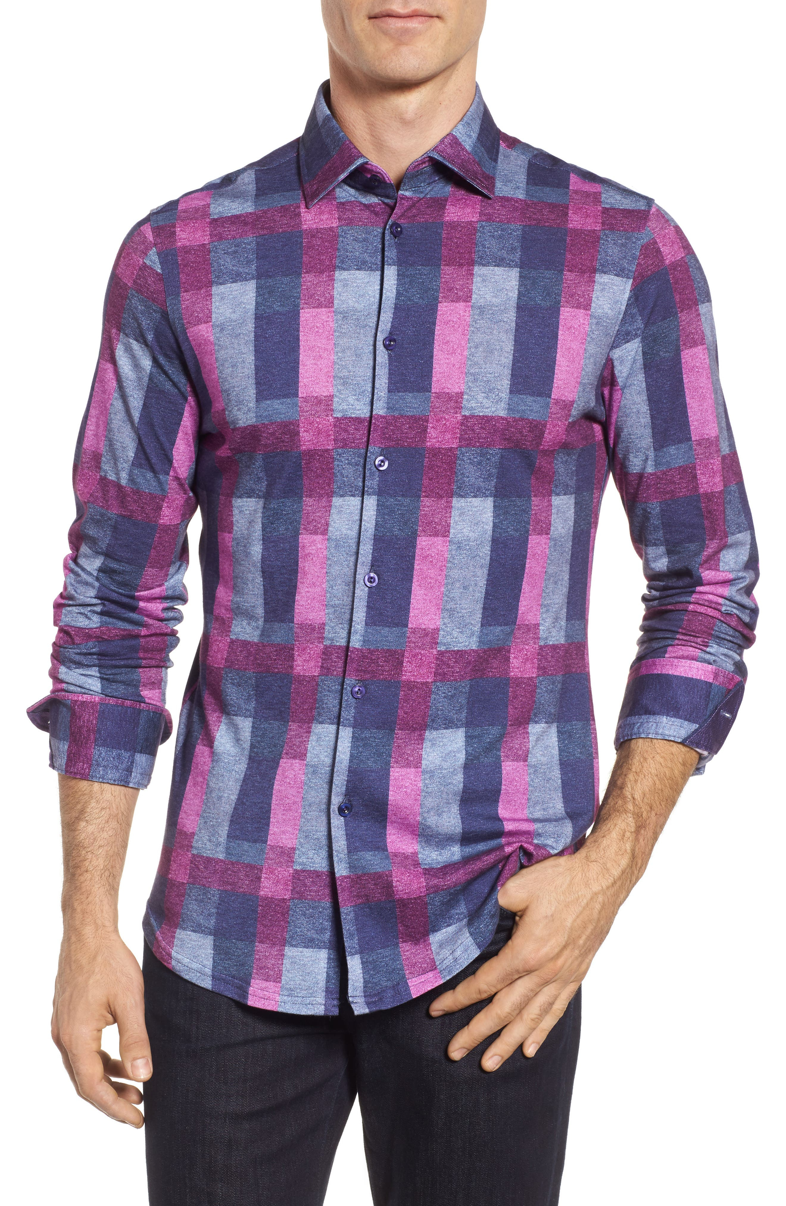 Multicheck Print Knit Sport Shirt,                             Main thumbnail 1, color,                             Navy
