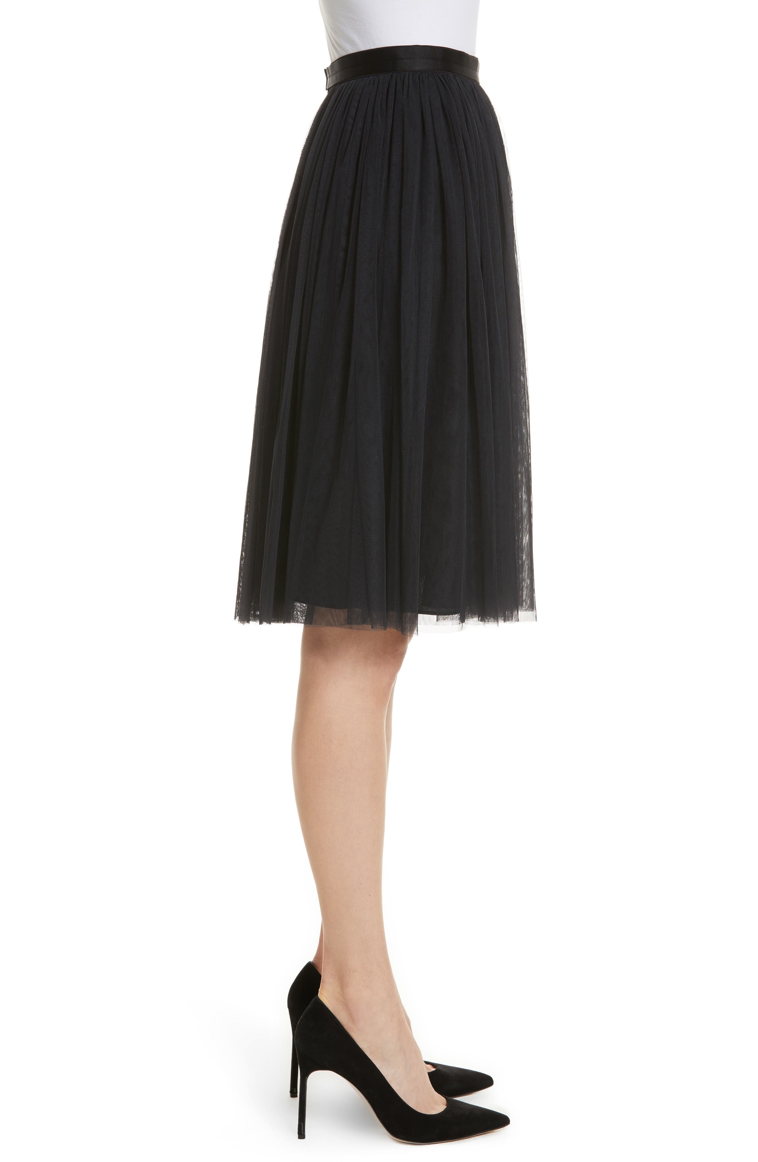 Pleated Tulle Skirt,                             Alternate thumbnail 3, color,                             Washed Black