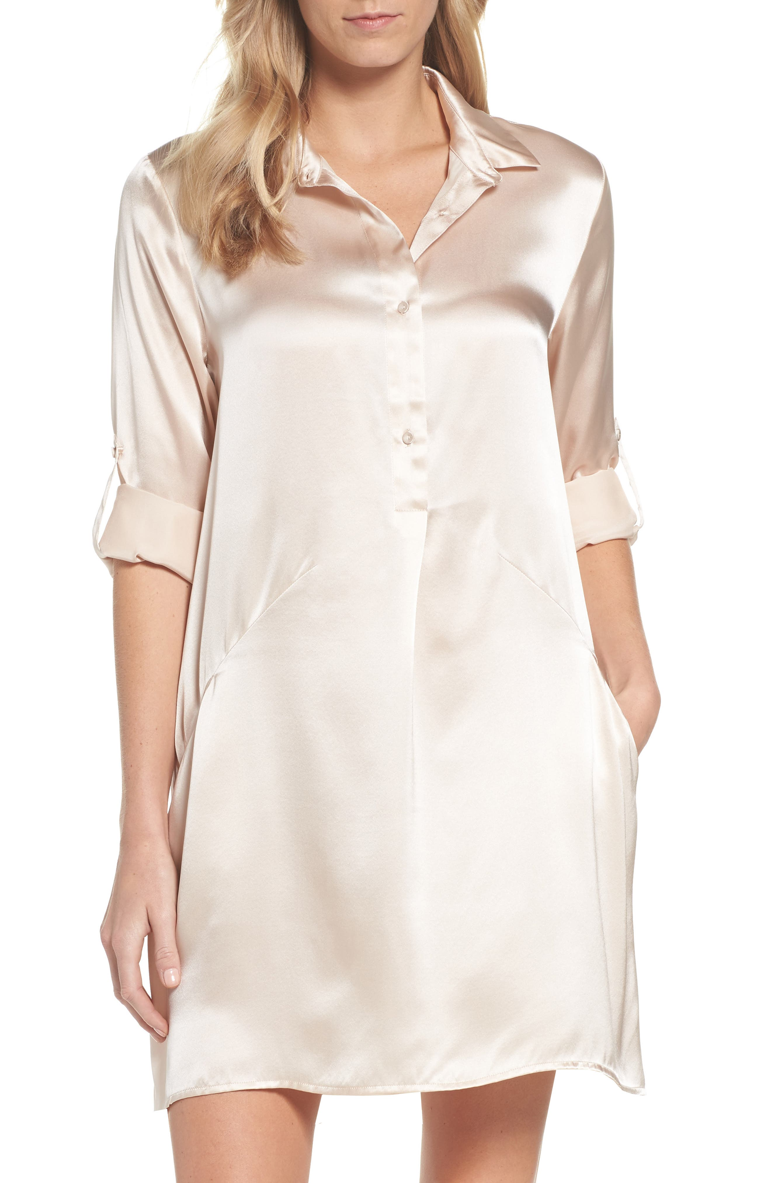 Silk Sleep Shirt,                             Main thumbnail 1, color,                             Romance