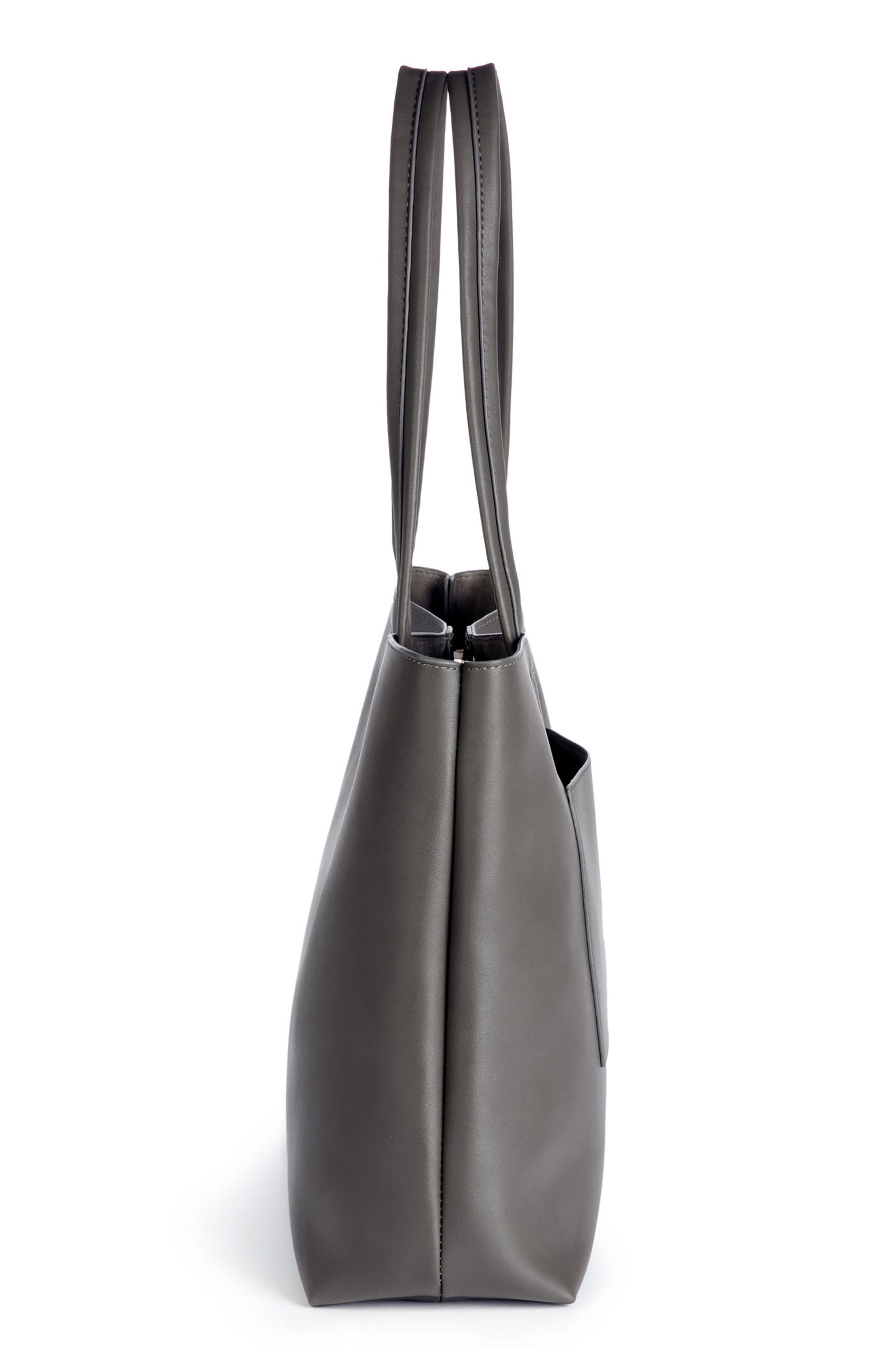 Oversize Faux Leather Tote,                             Alternate thumbnail 5, color,                             Grey
