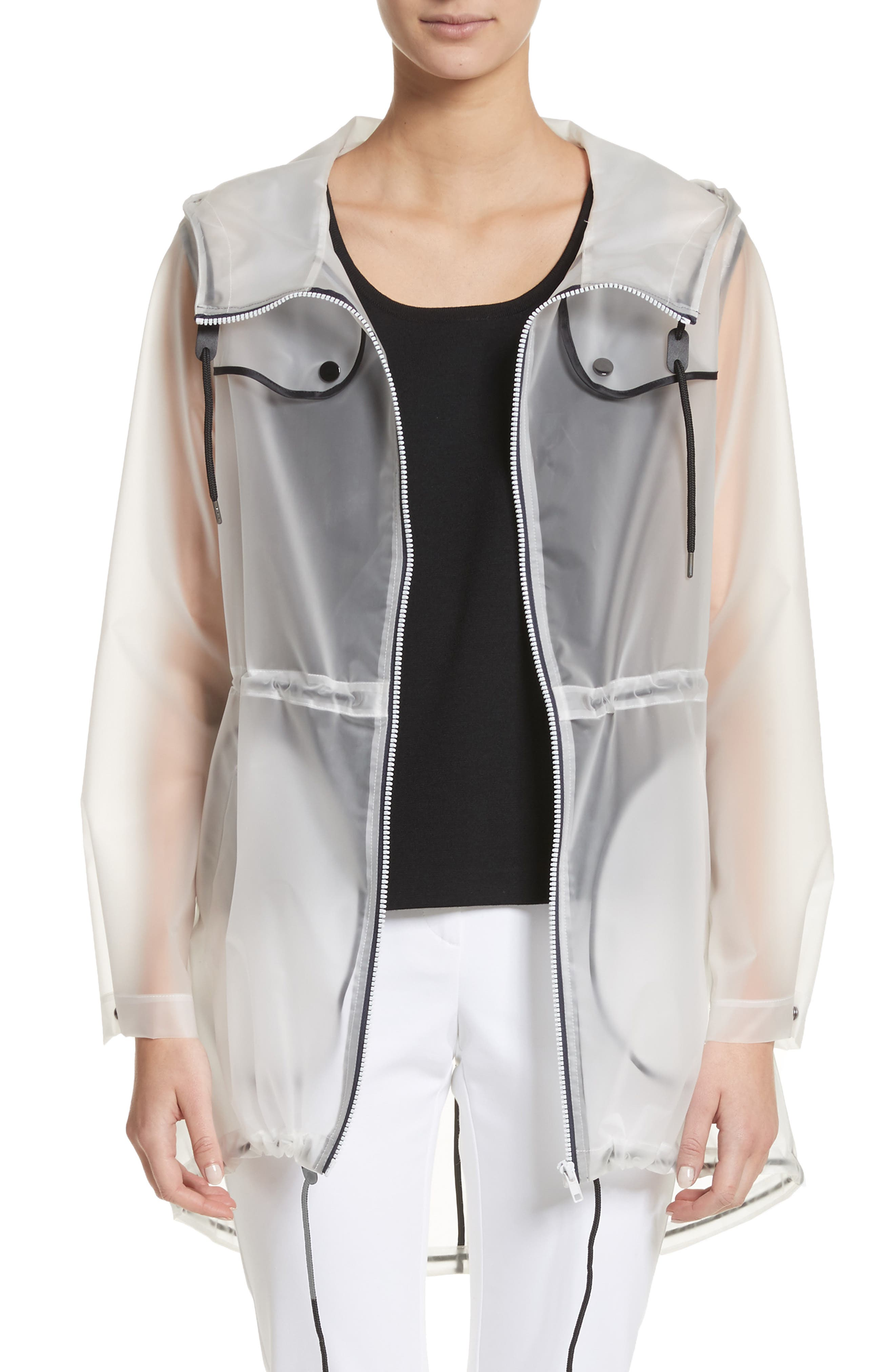 Clear Hooded Raincoat,                         Main,                         color, White