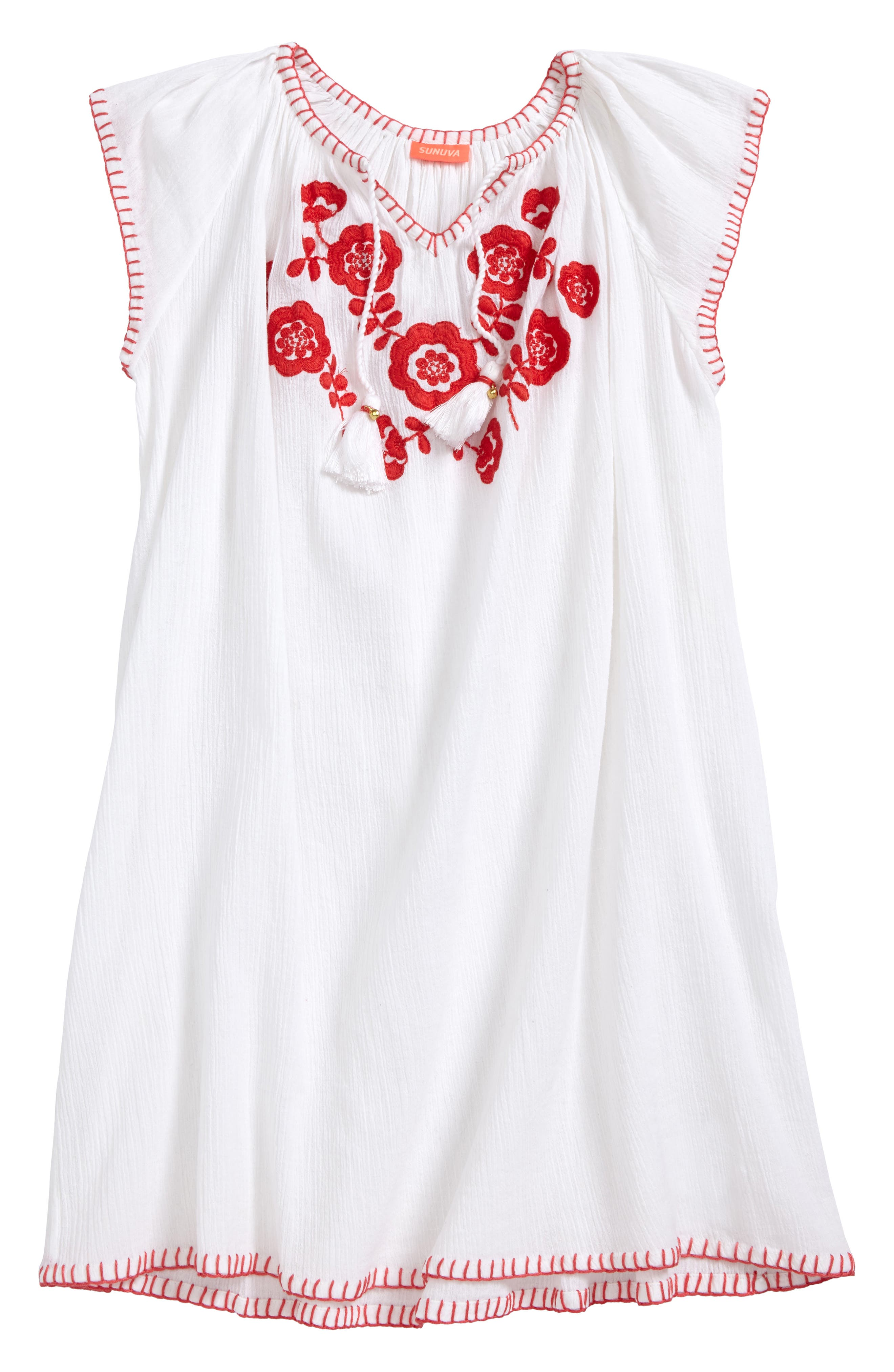 Sunuva Embroidered Cheesecloth Cover-Up Dress (Toddler Girls, Little Girls & Big Girls)