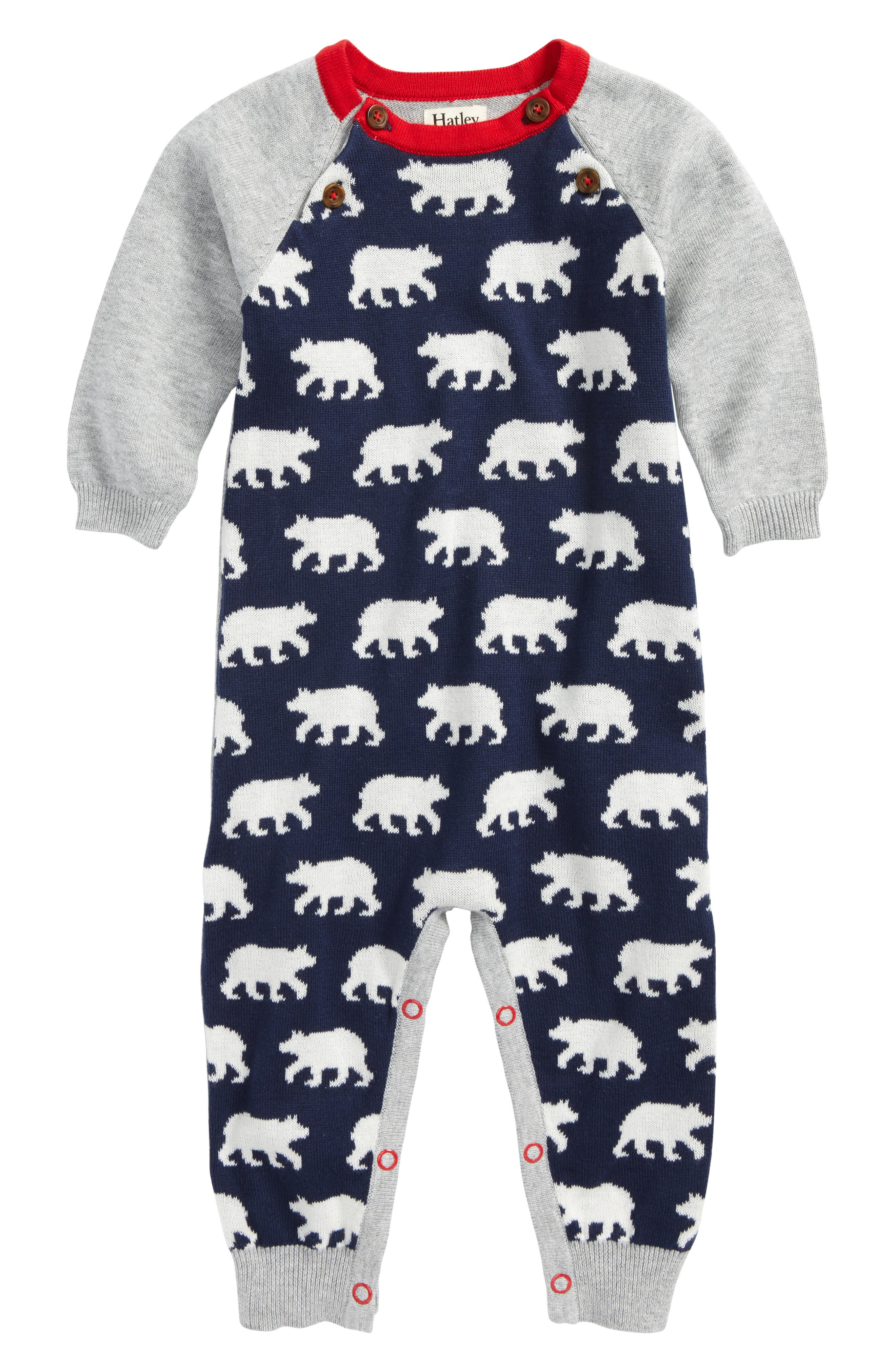 Hatley Polar Bear Sweater Knit Romper (Baby Boys)