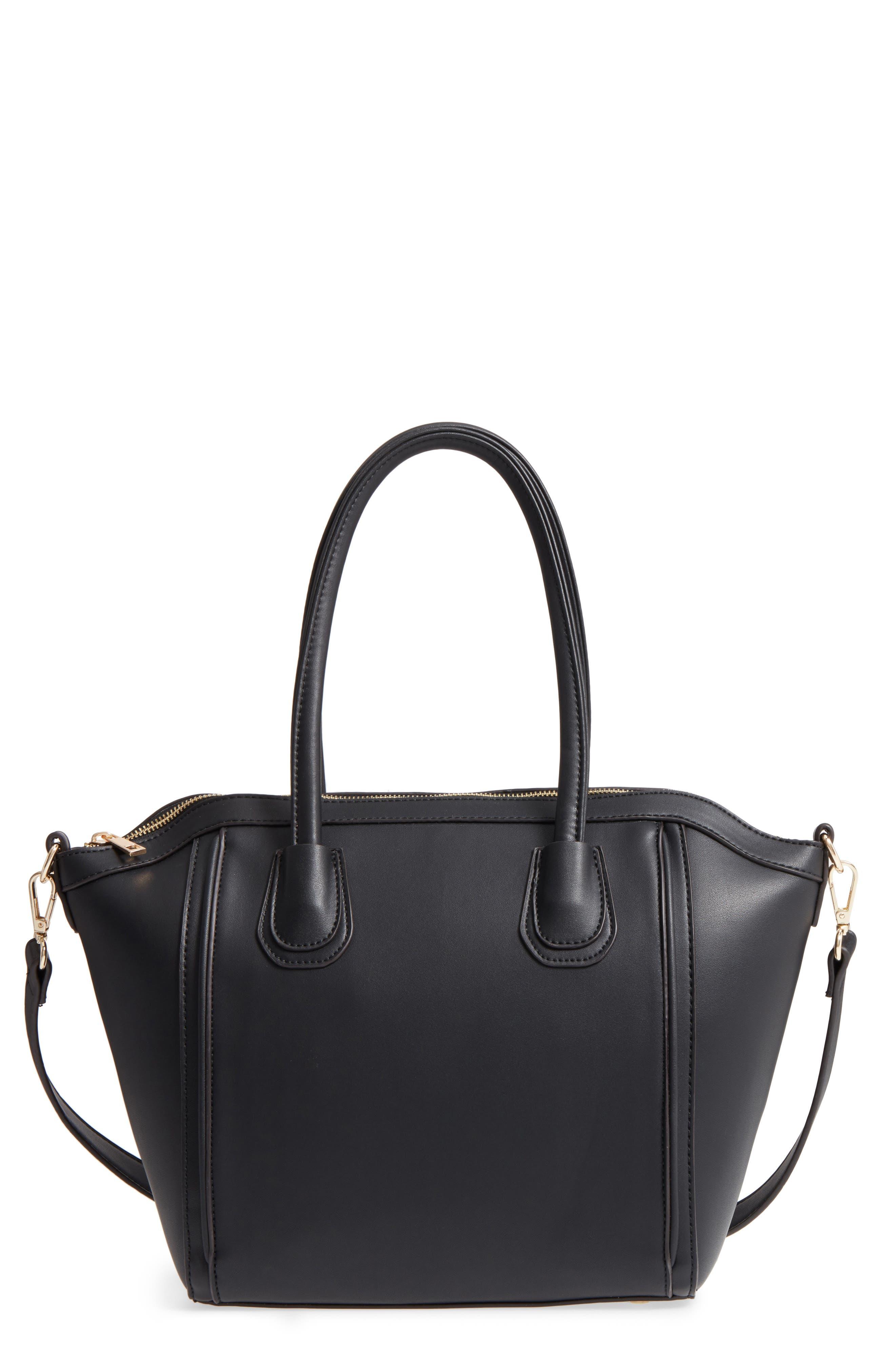 Amada Faux Leather Satchel,                         Main,                         color, Black