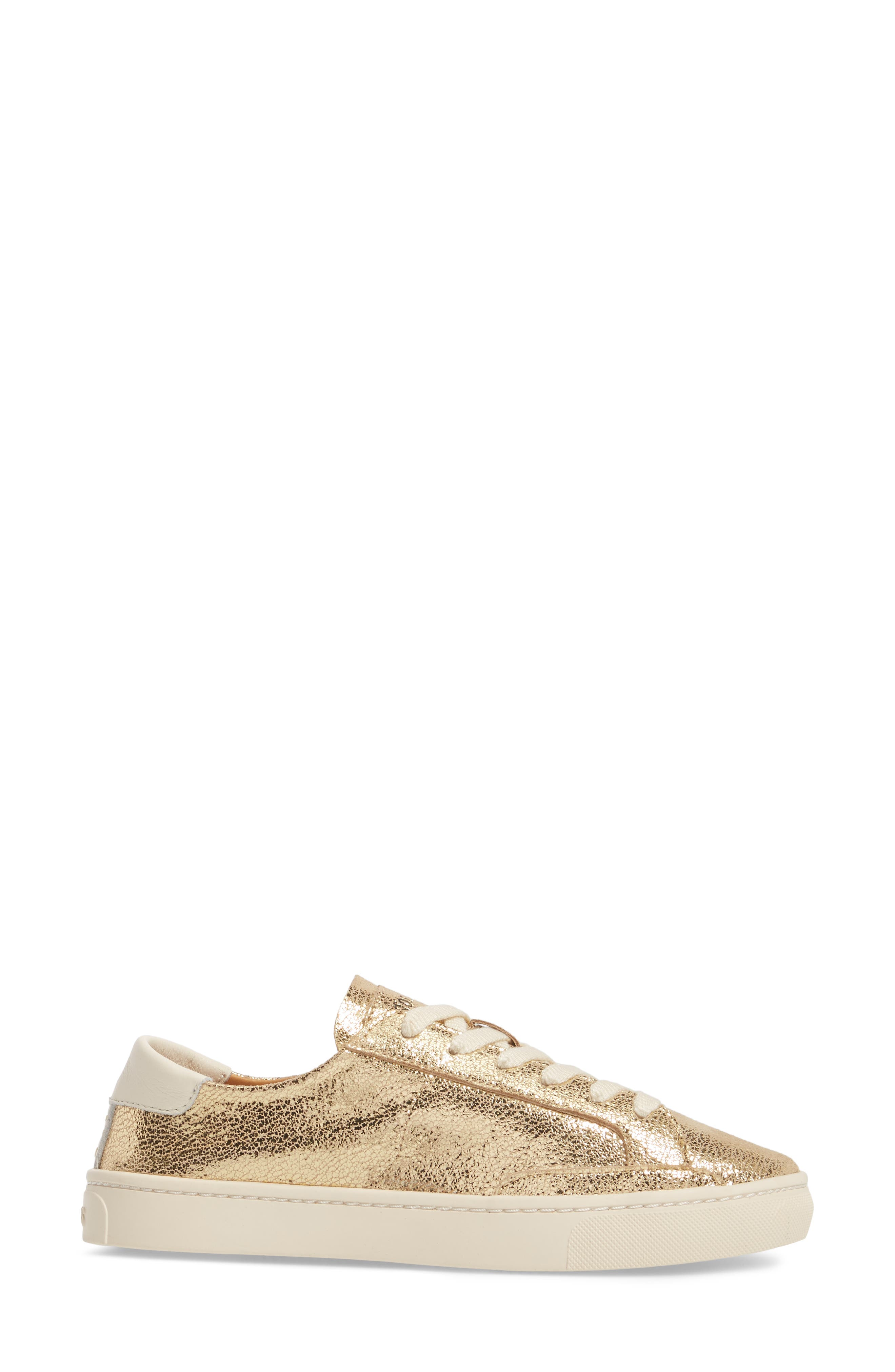 Ibiza Metallic Lace-Up Sneaker,                             Alternate thumbnail 3, color,                             Pale Gold Leather