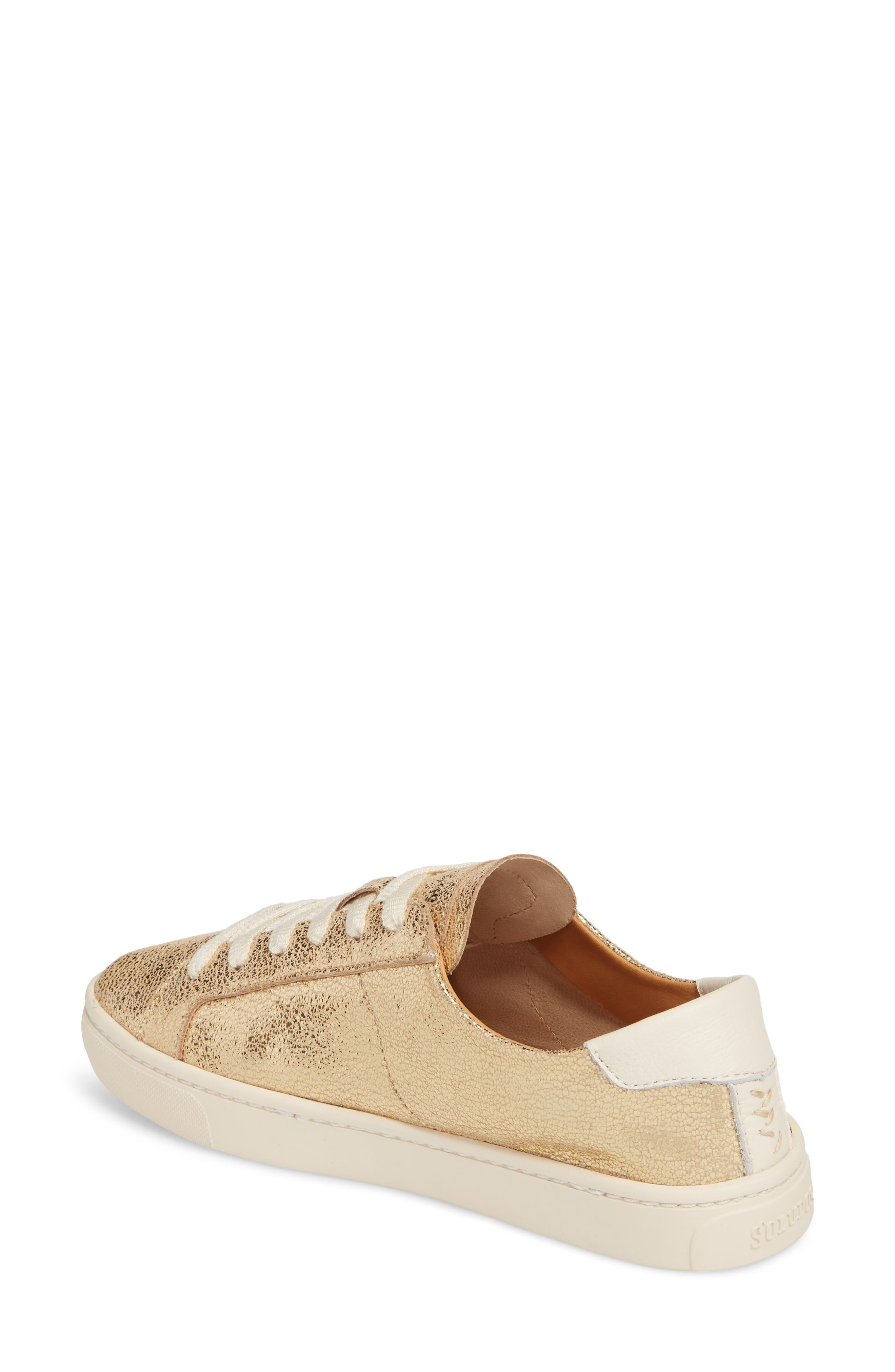 Ibiza Metallic Lace-Up Sneaker,                             Alternate thumbnail 2, color,                             Pale Gold Leather