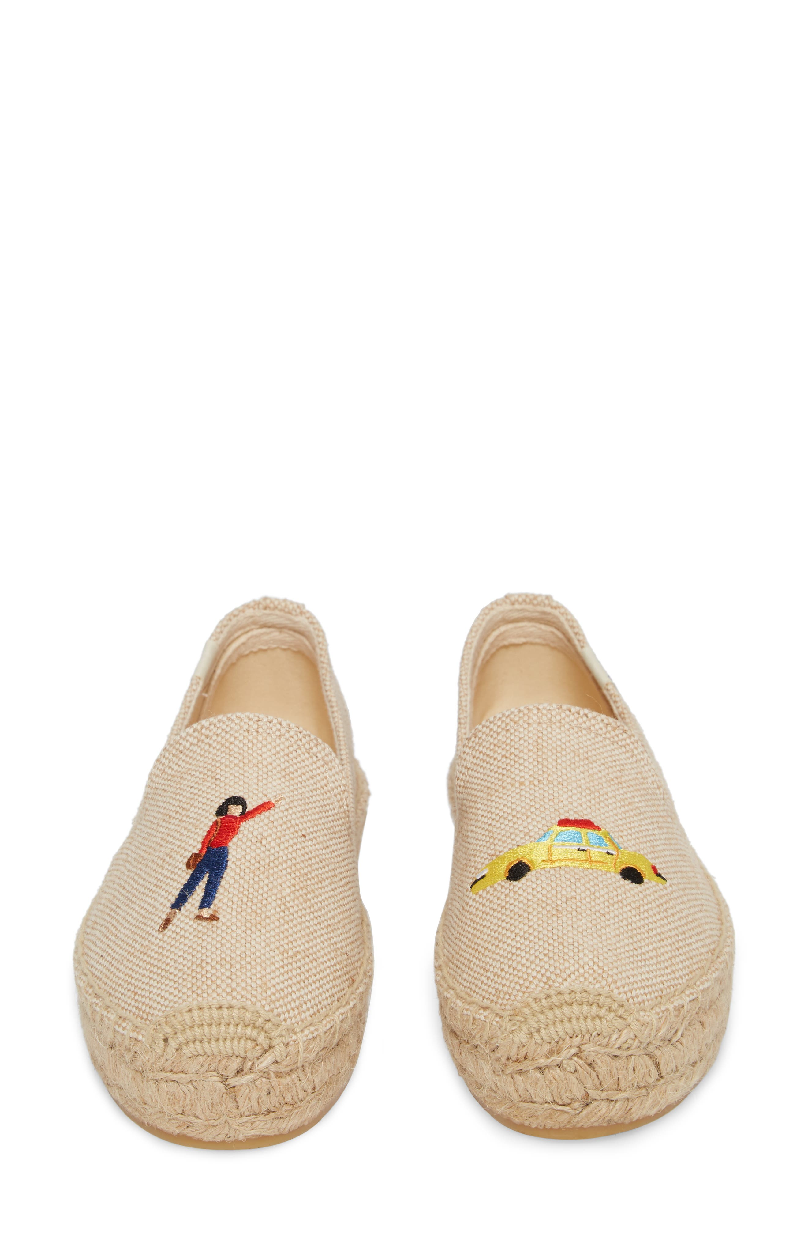 Taxi Embroidered Platform Espadrille,                             Alternate thumbnail 5, color,                             Natural Canvas
