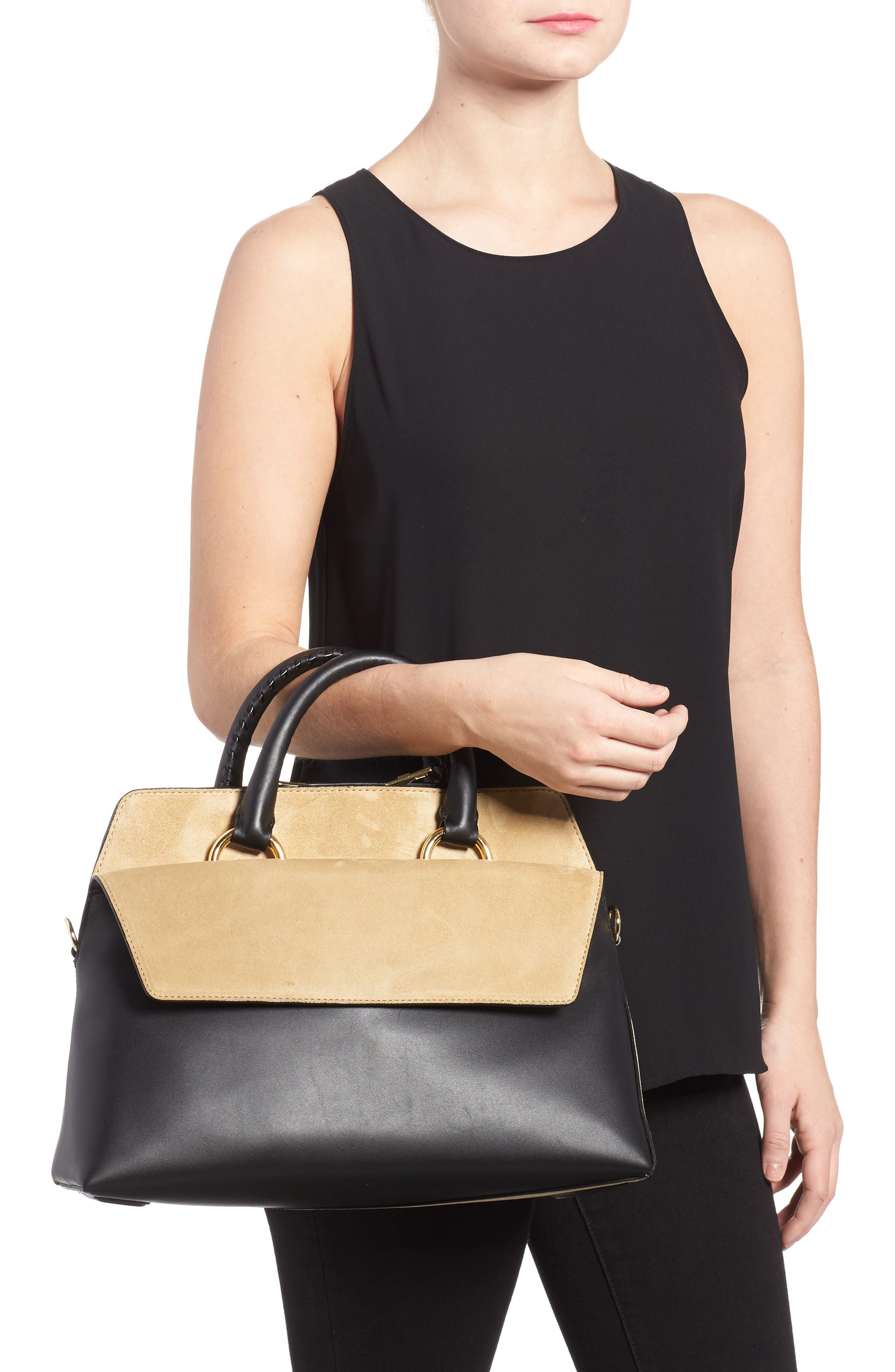 Alternate Image 2  - Diane von Furstenberg Large Leather & Suede Satchel