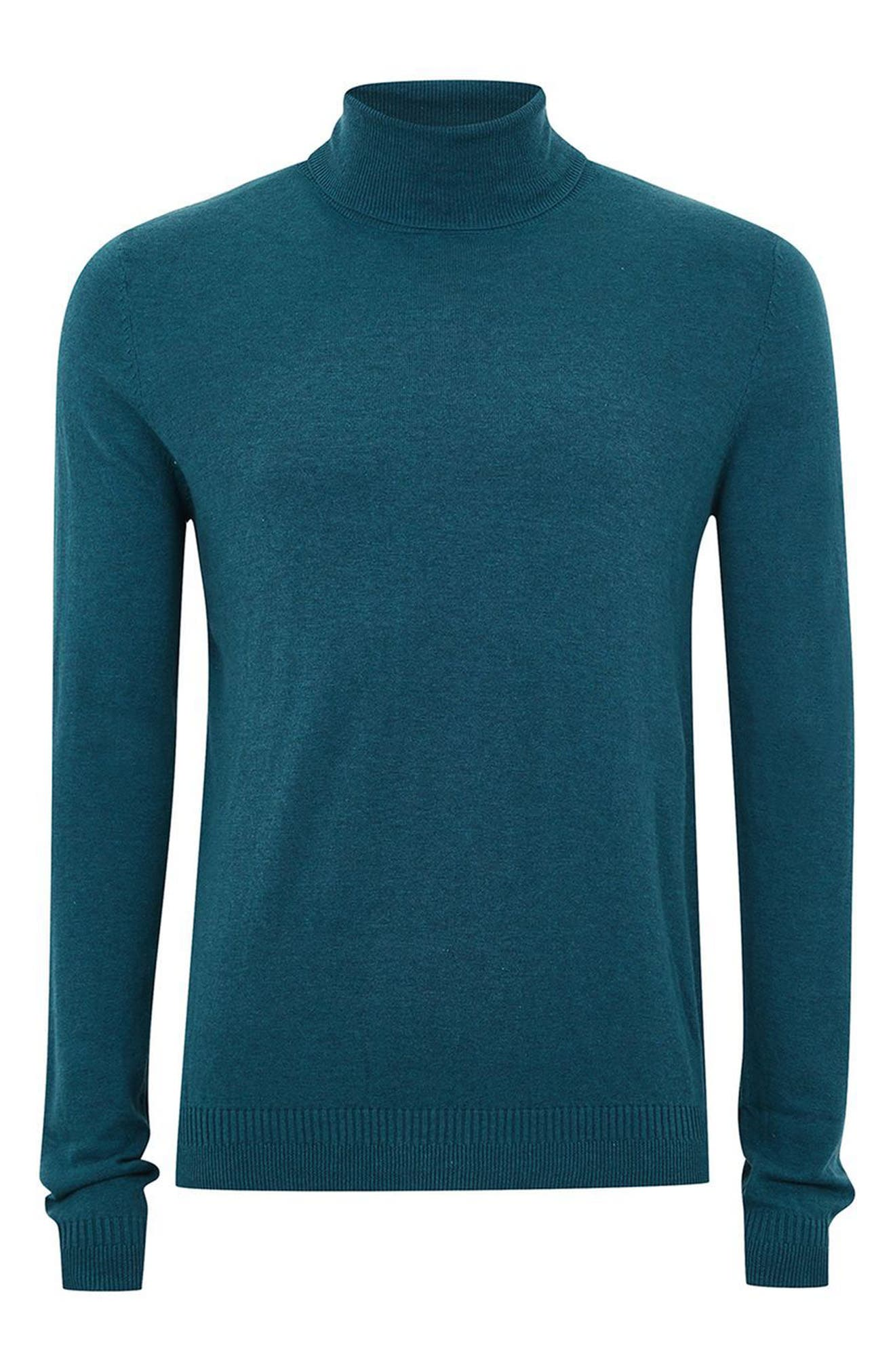 Cotton Turtleneck Sweater,                             Alternate thumbnail 4, color,                             Blue