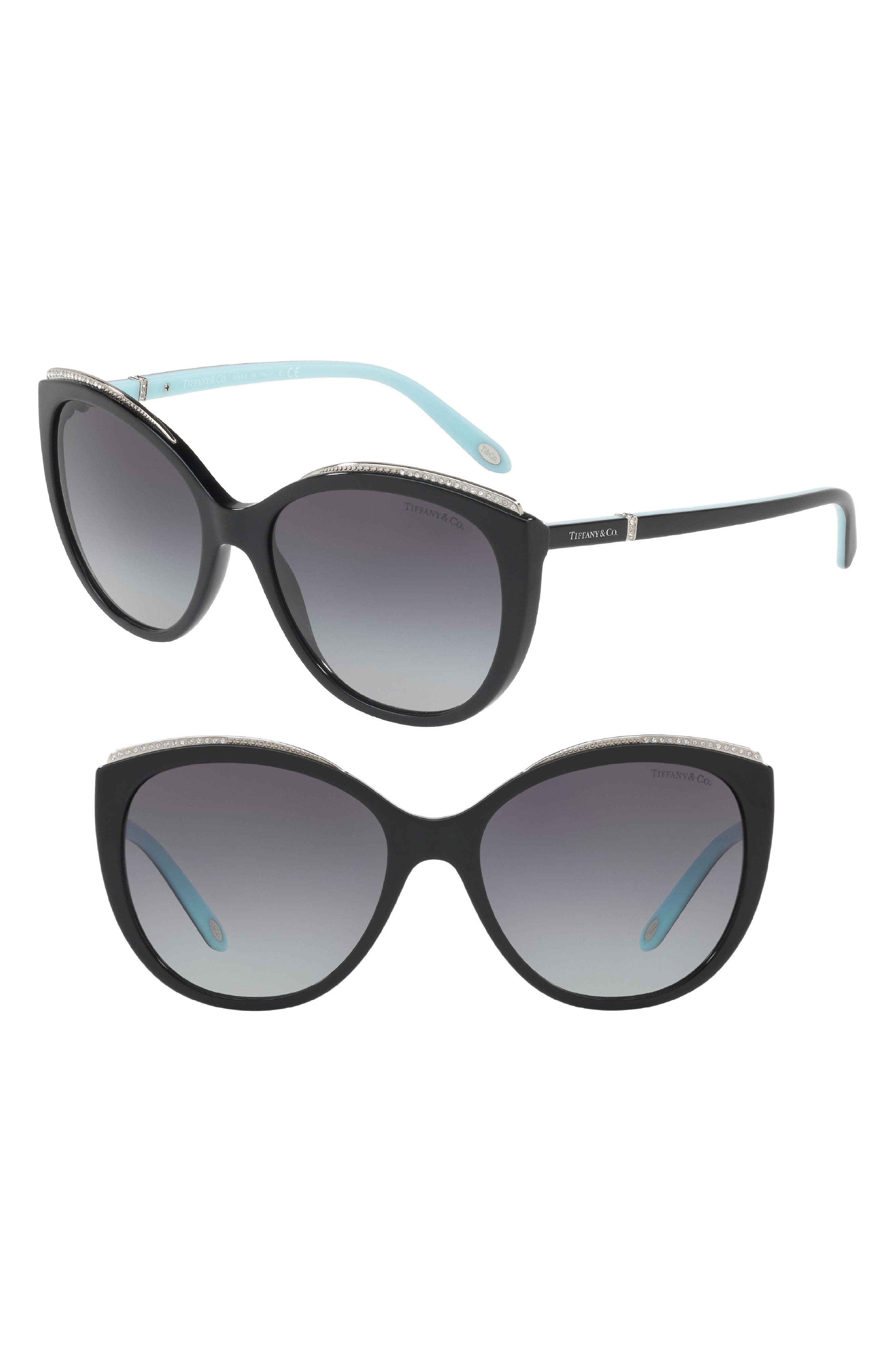 56mm Gradient Cat Eye Sunglasses,                         Main,                         color, Black Gradient