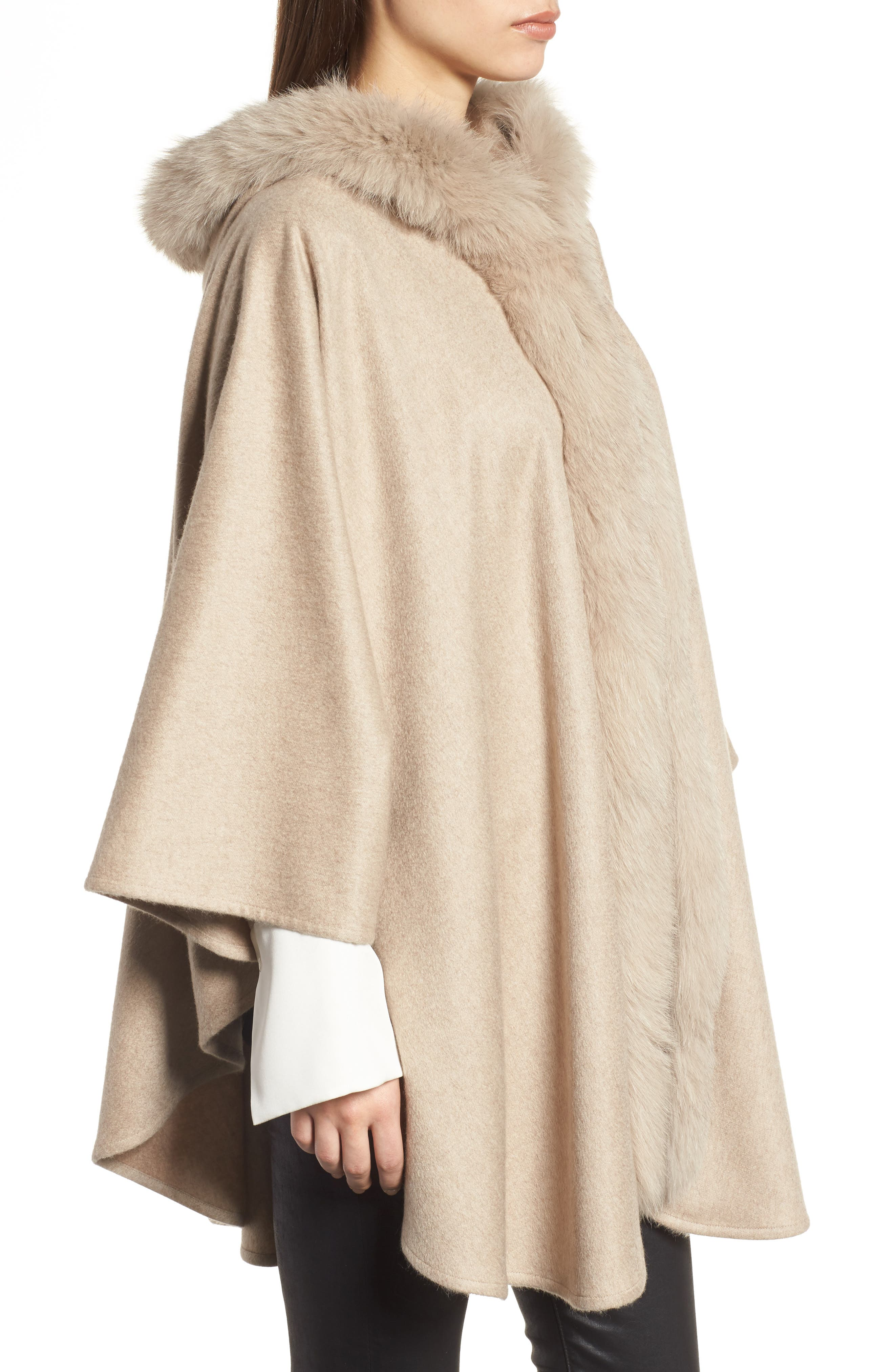 Cashmere Hooded Cape with Genuine Fox Fur Trim,                             Alternate thumbnail 3, color,                             Beige