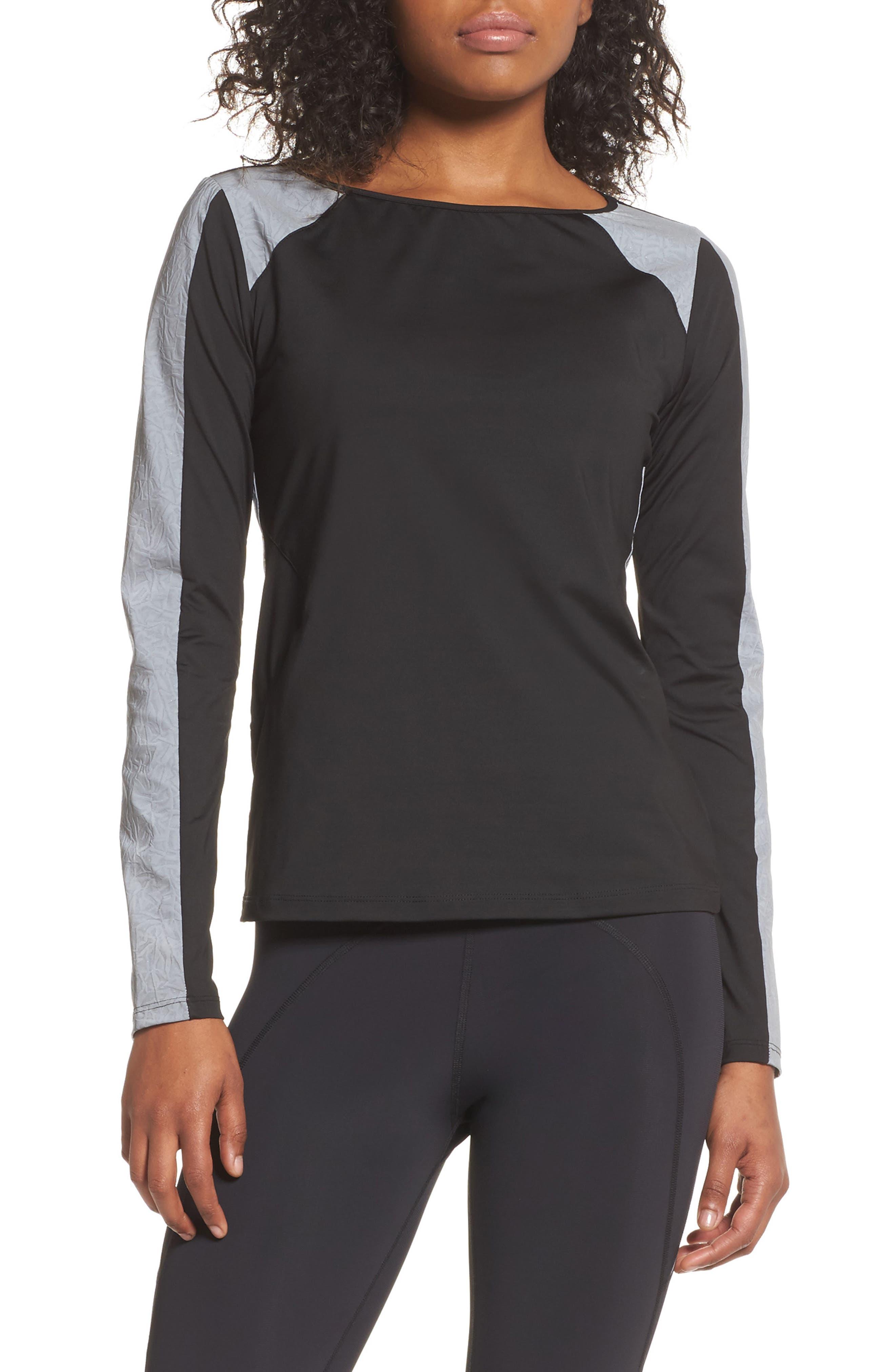 BoomBoom Athletica Reflective Body-Con Long Sleeve Tee,                             Main thumbnail 1, color,                             Black/Reflective