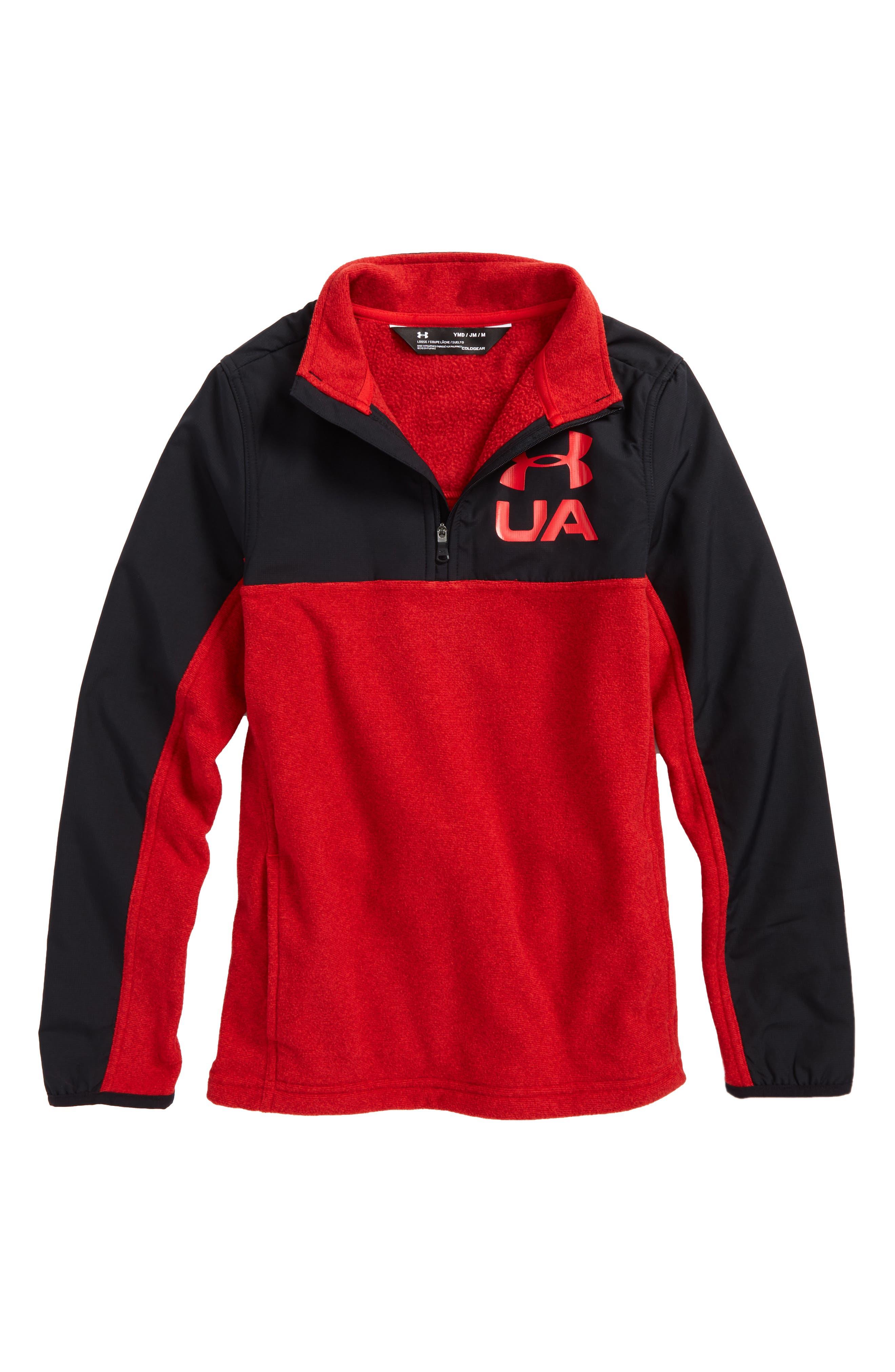 Phenom ColdGear<sup>®</sup> Quarter Zip Pullover,                             Main thumbnail 1, color,                             Red/ Black