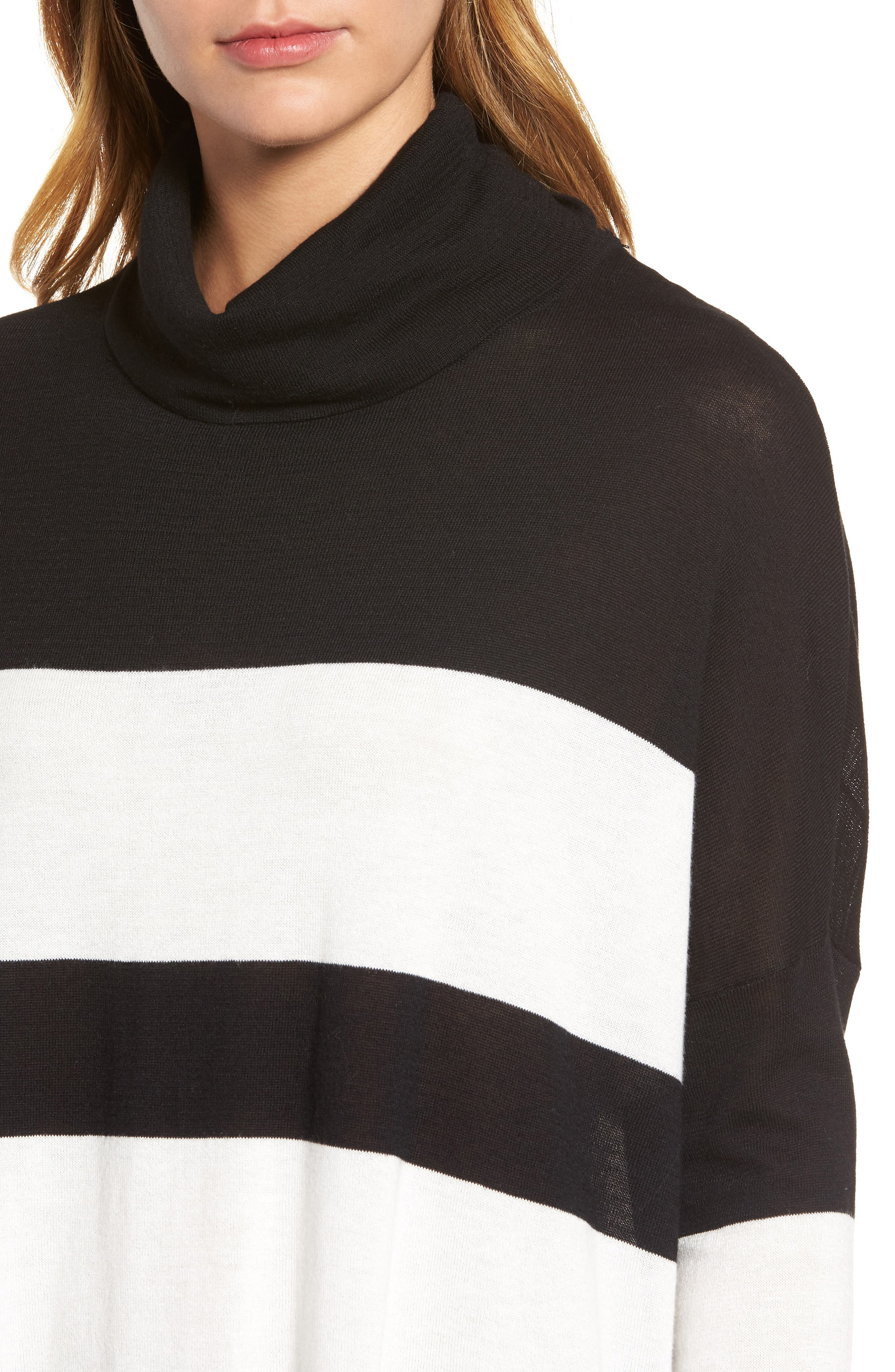 Wide Stripe Turtleneck Sweater,                             Alternate thumbnail 4, color,                             Black Cream
