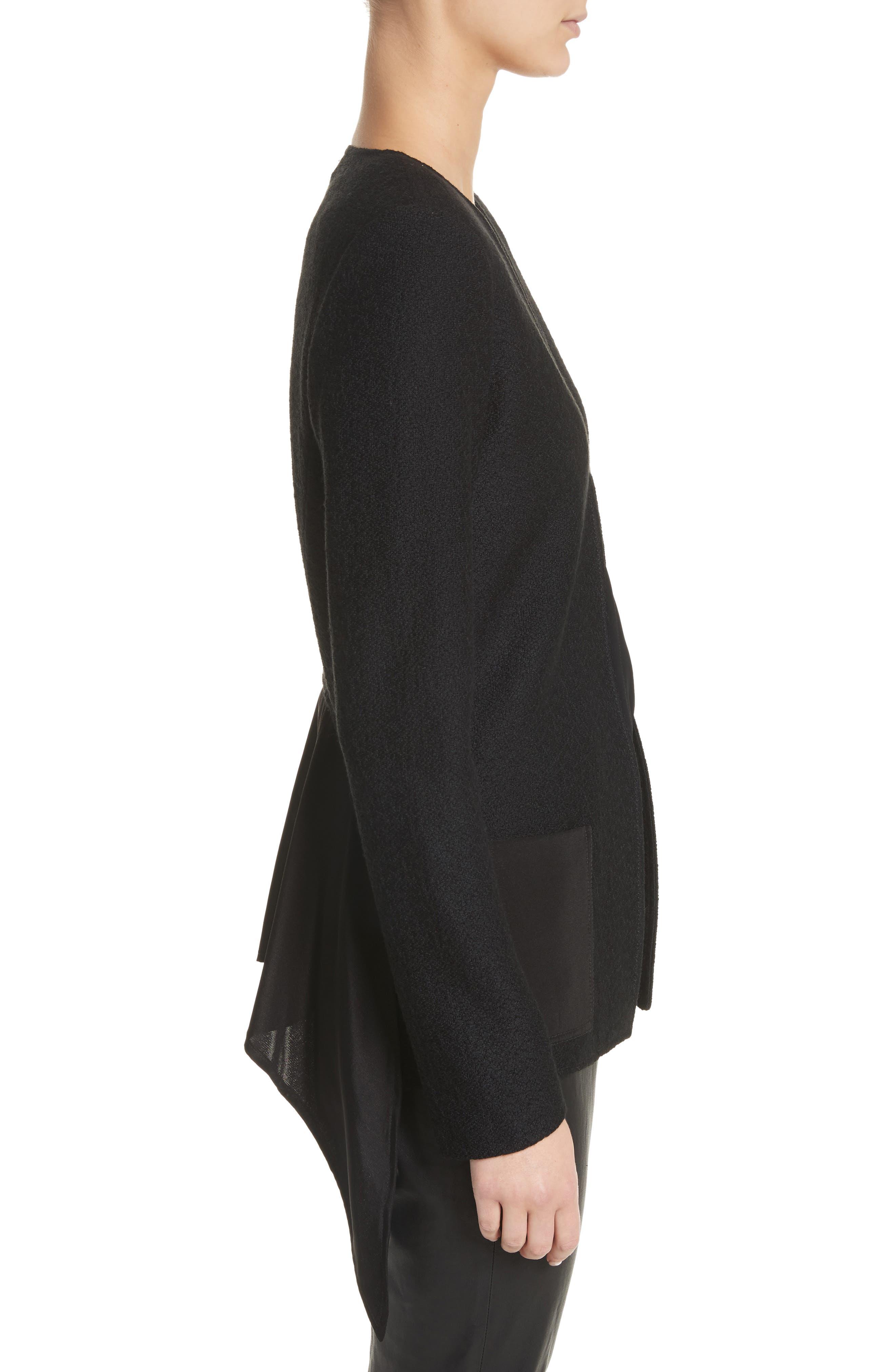 Hannah Knit A-Line Jacket,                             Alternate thumbnail 3, color,                             Caviar
