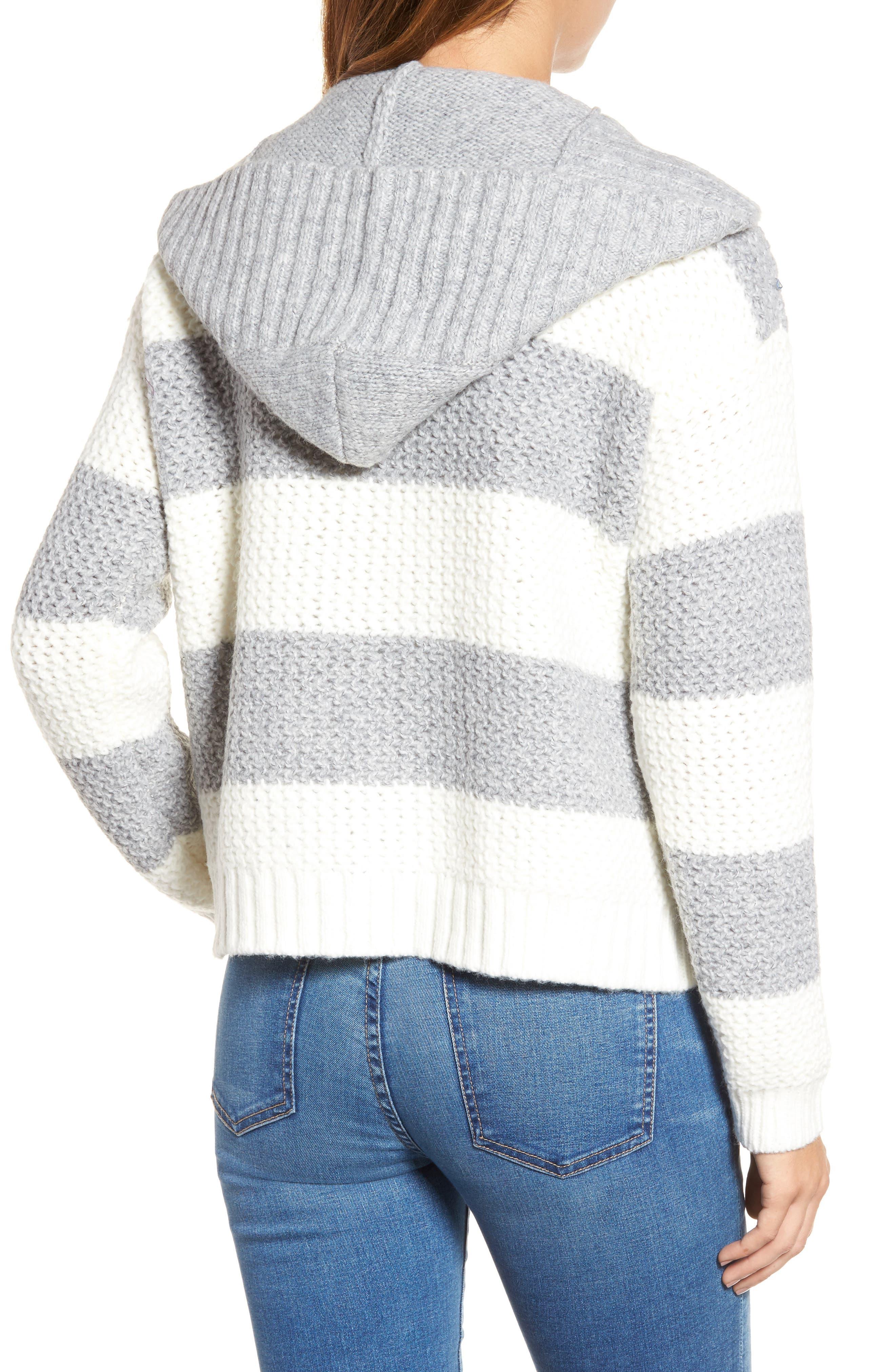 Inner Layer Stripe Cardigan,                             Alternate thumbnail 2, color,                             Fog Mix Cream