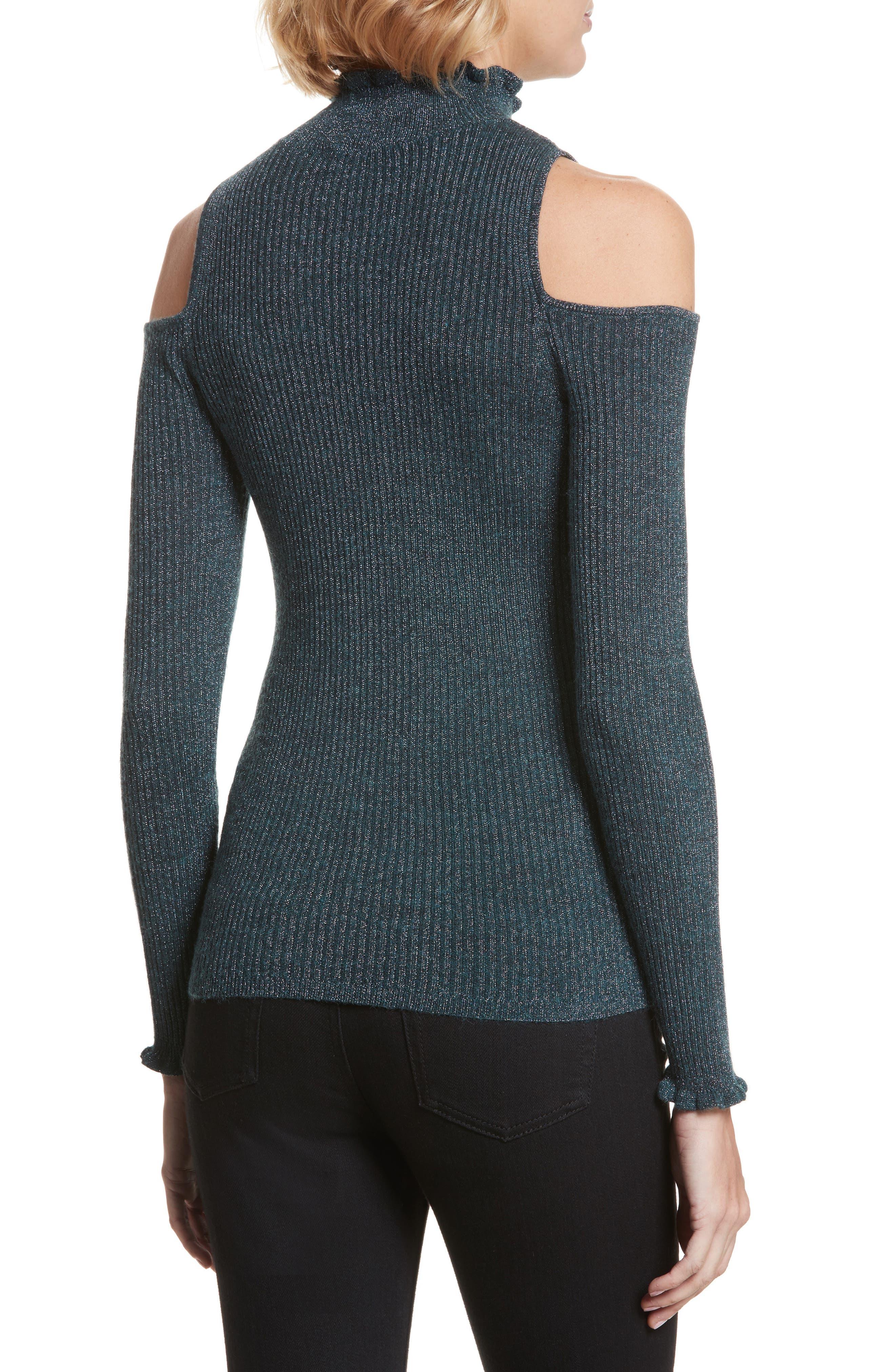 Alternate Image 2  - Rebecca Taylor Metallic Cold Shoulder Pullover