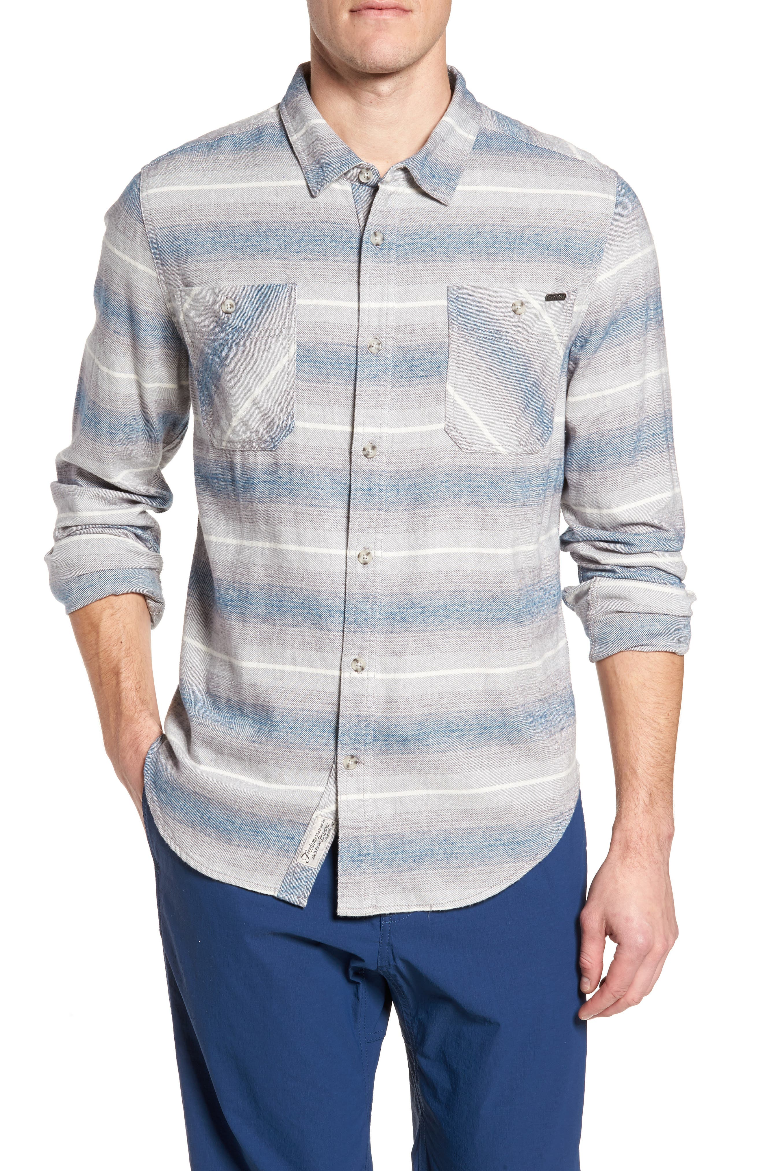 General Purpose Regular Fit Stripe Sport Shirt,                         Main,                         color, Blue Abyss