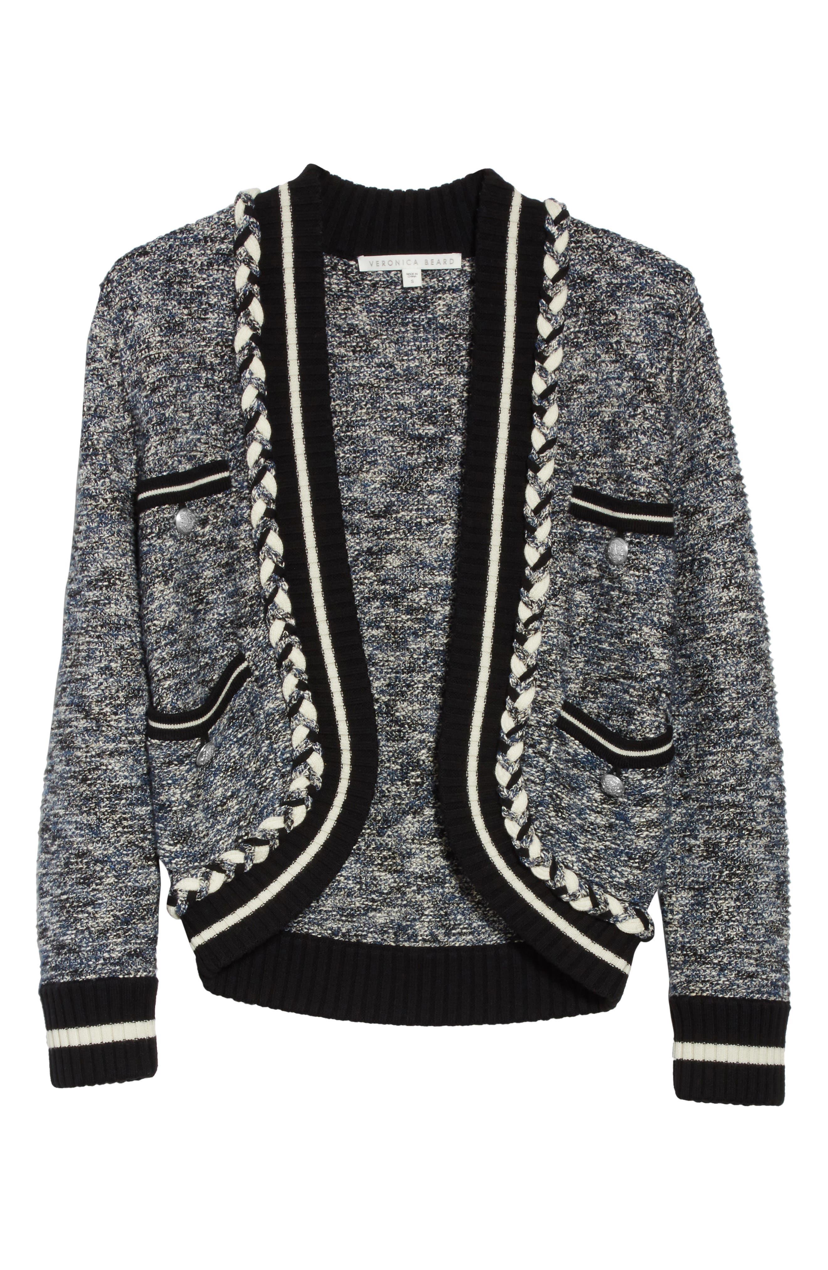 Davis Tweed Sweater Jacket,                             Alternate thumbnail 5, color,                             Navy