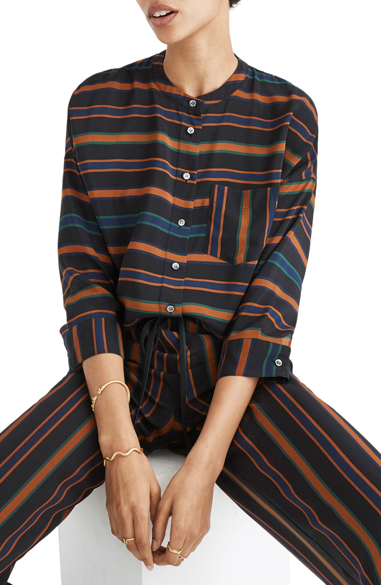 Madewell Clermont Stripe Silk Blouse