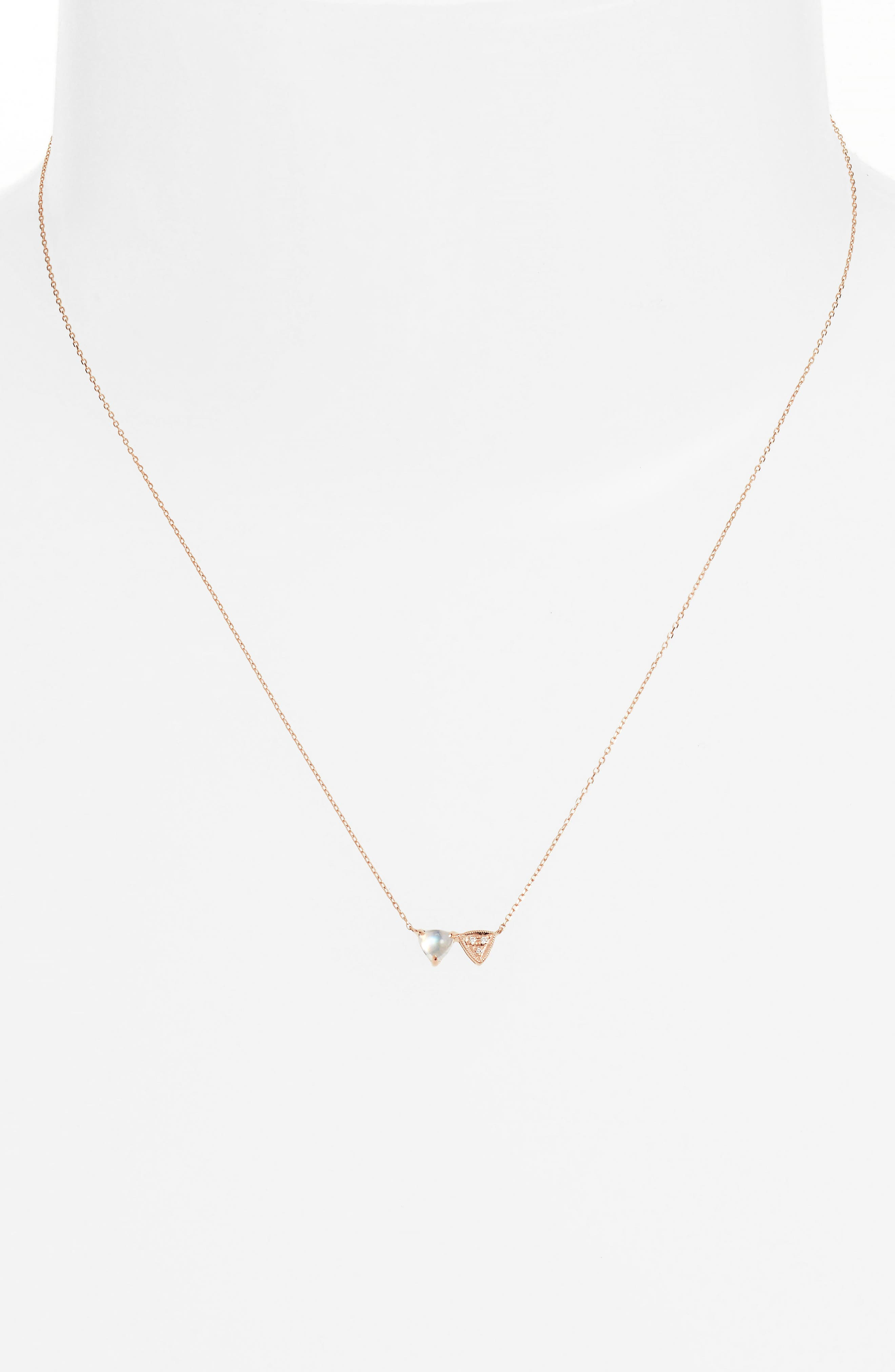 Diamond & Stone Pendant Necklace,                             Alternate thumbnail 2, color,                             Rose Gold