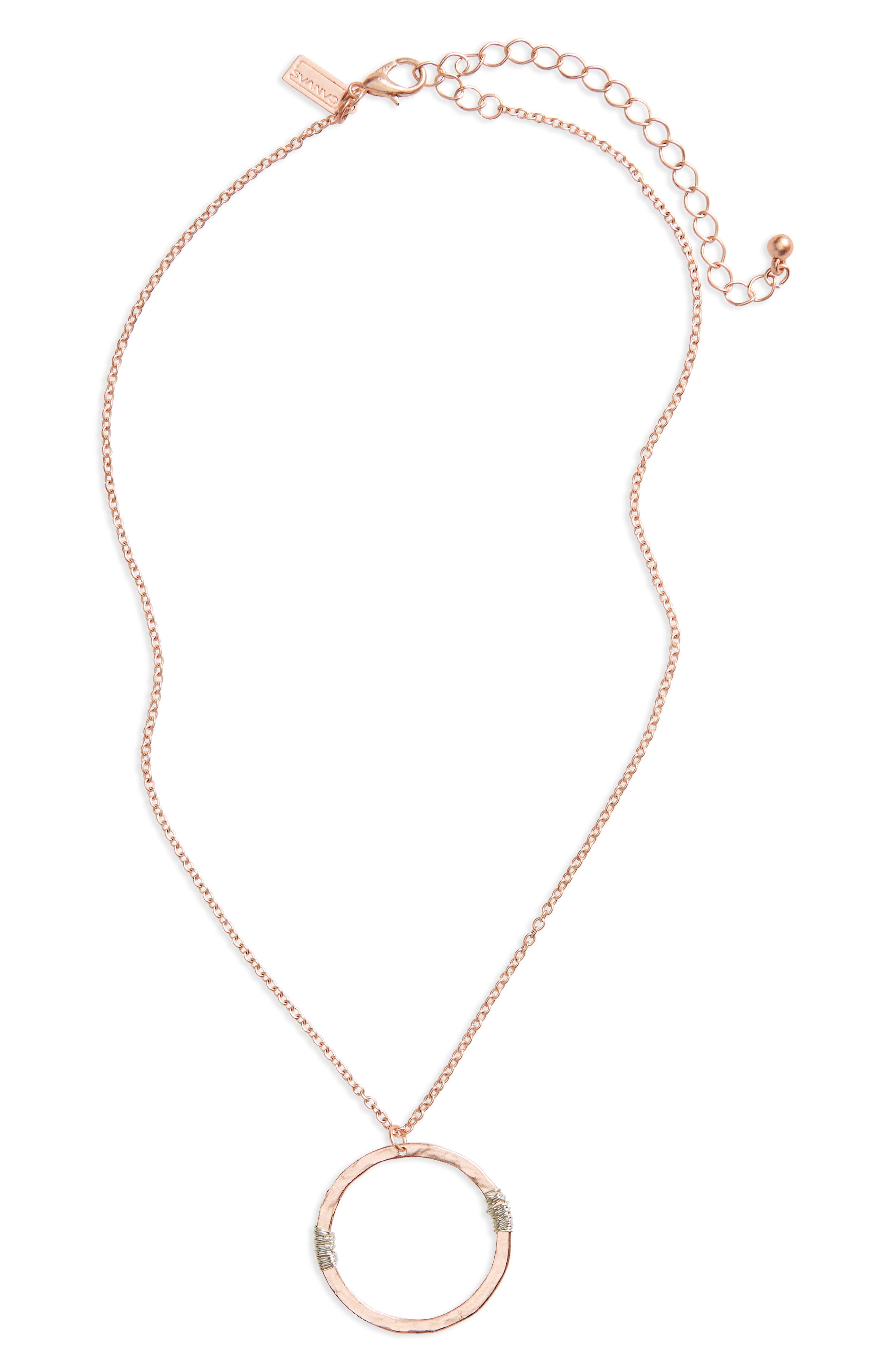 Wire Wrap Open Circle Pendant Necklace,                         Main,                         color, Rose Gold