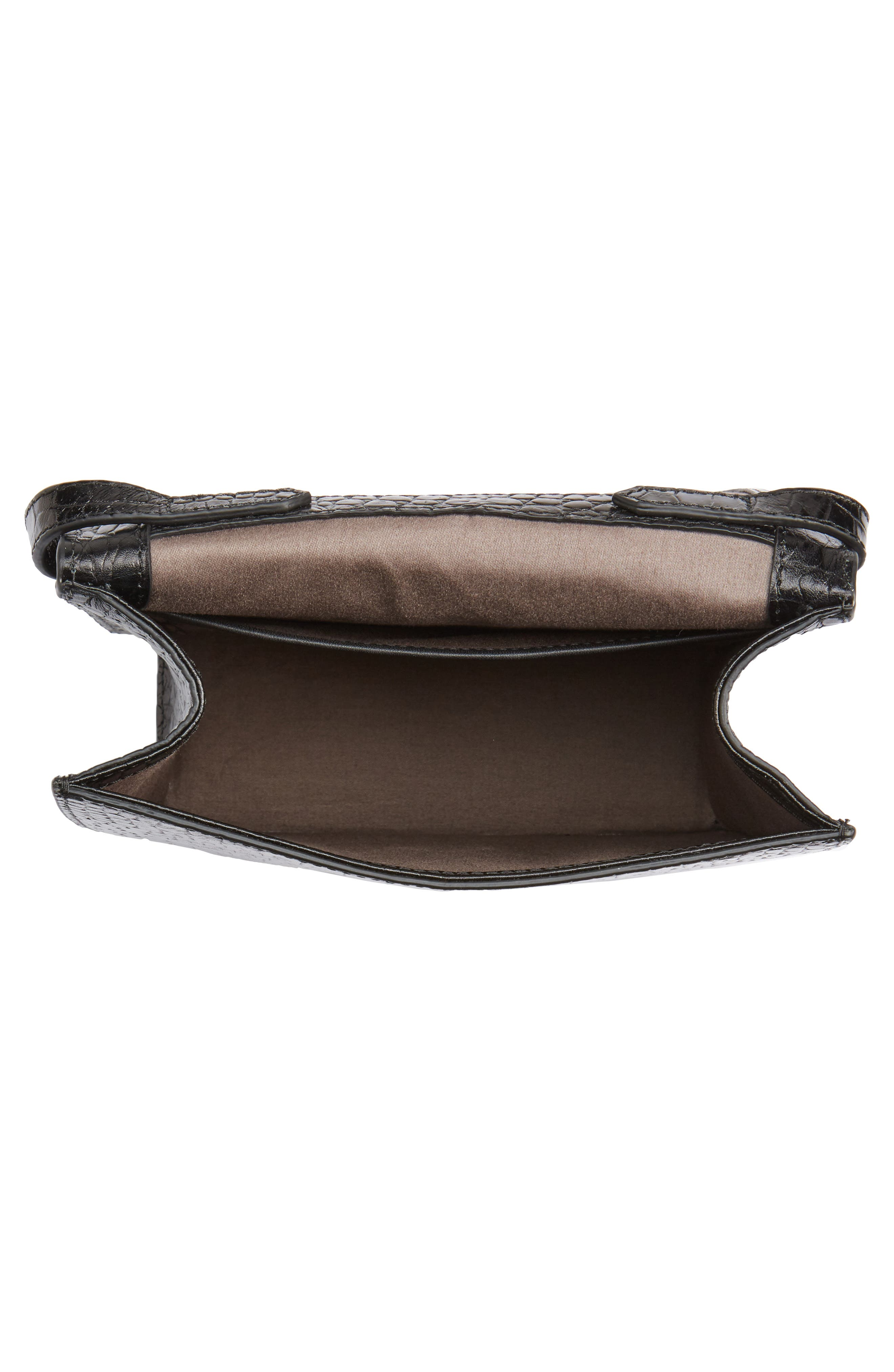 Eloise Leather Crossbody Bag,                             Alternate thumbnail 4, color,                             Black