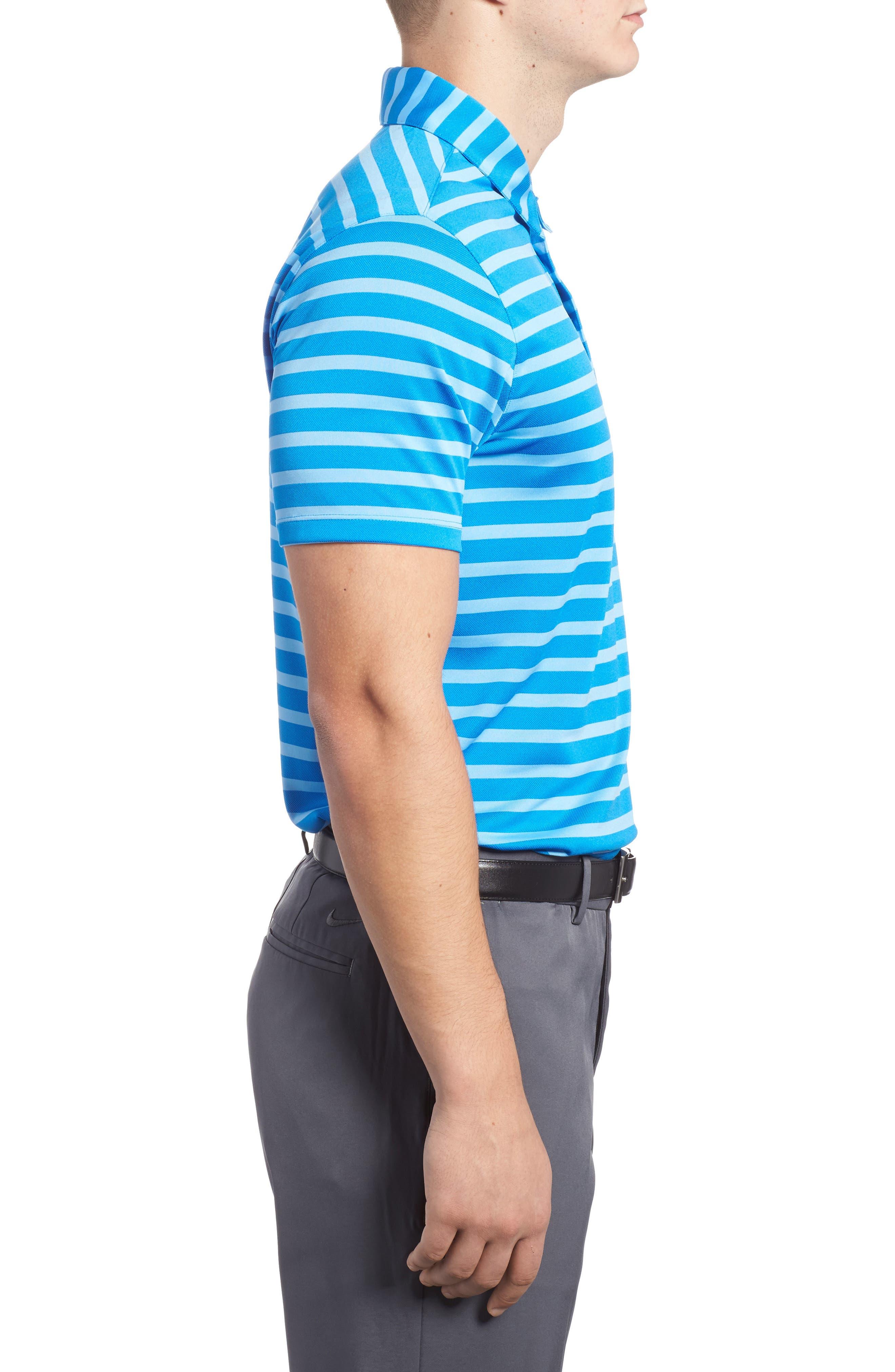 Golf Stripe Polo,                             Alternate thumbnail 3, color,                             Photo Blue/ White