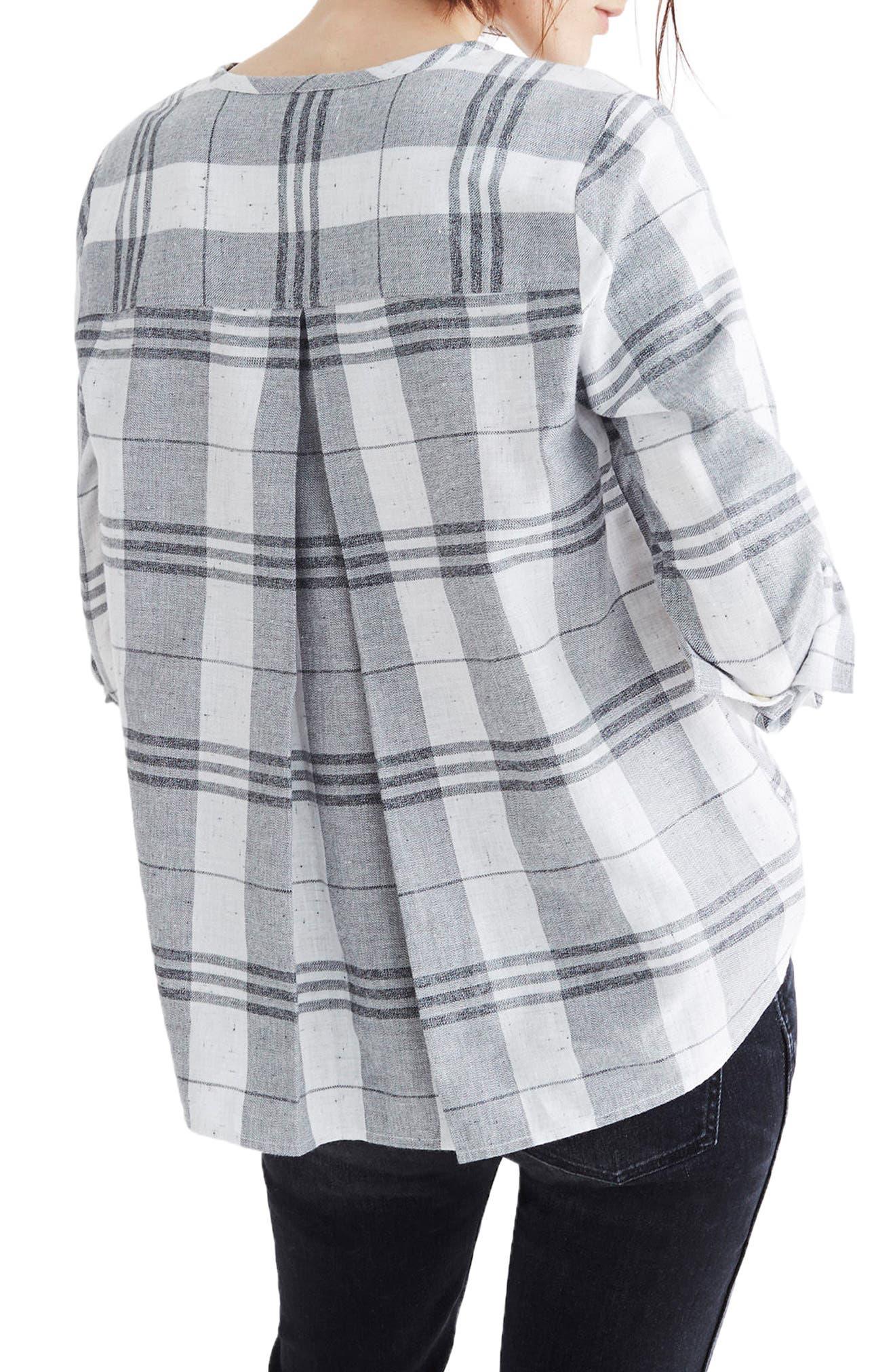 Plaid Collarless Button Down Shirt,                             Alternate thumbnail 3, color,                             Quarter Bright Ivory