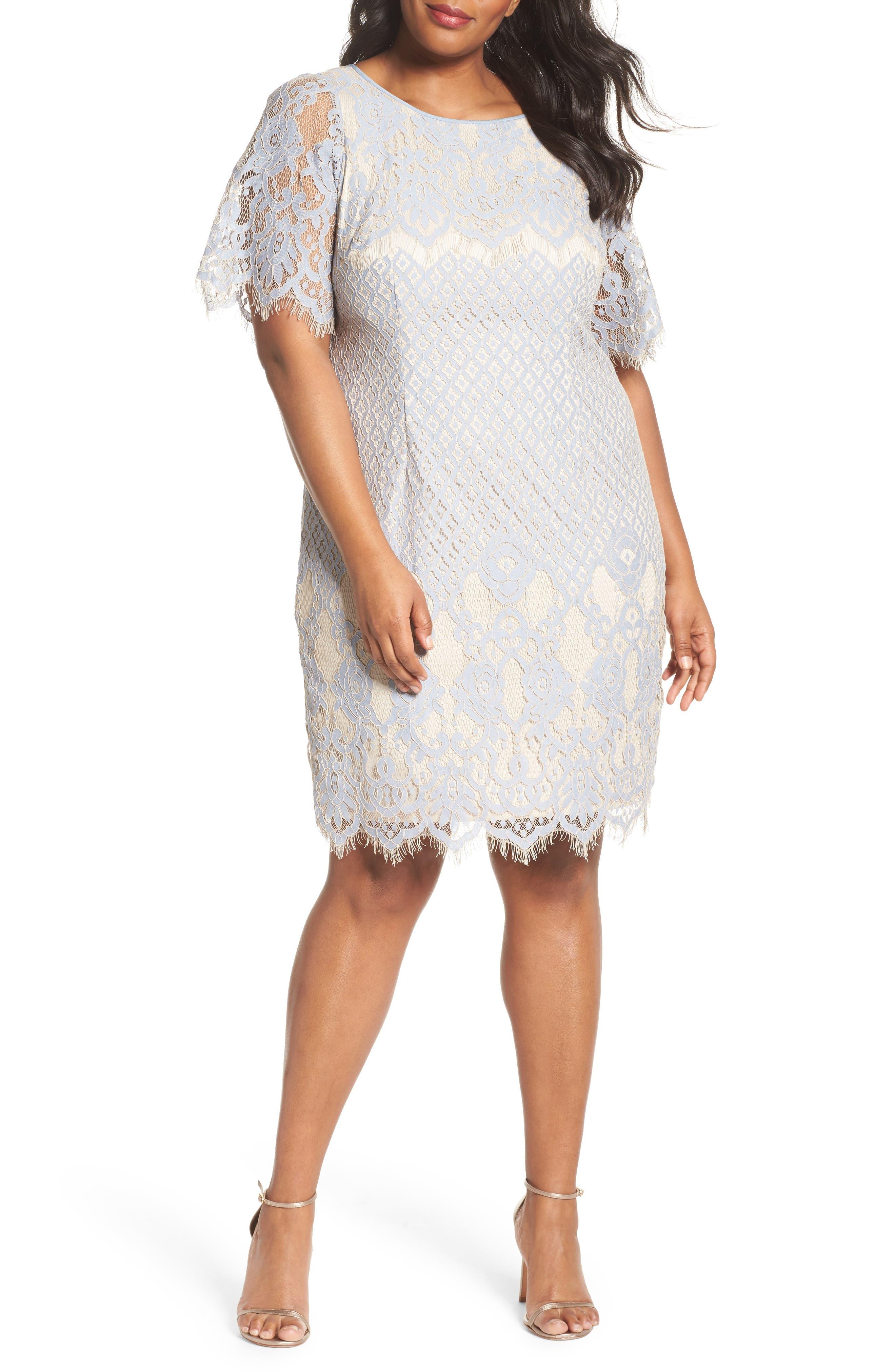 Bell Sleeve Georgia Lace Sheath Dress,                             Main thumbnail 1, color,                             Sky/ Cadmium