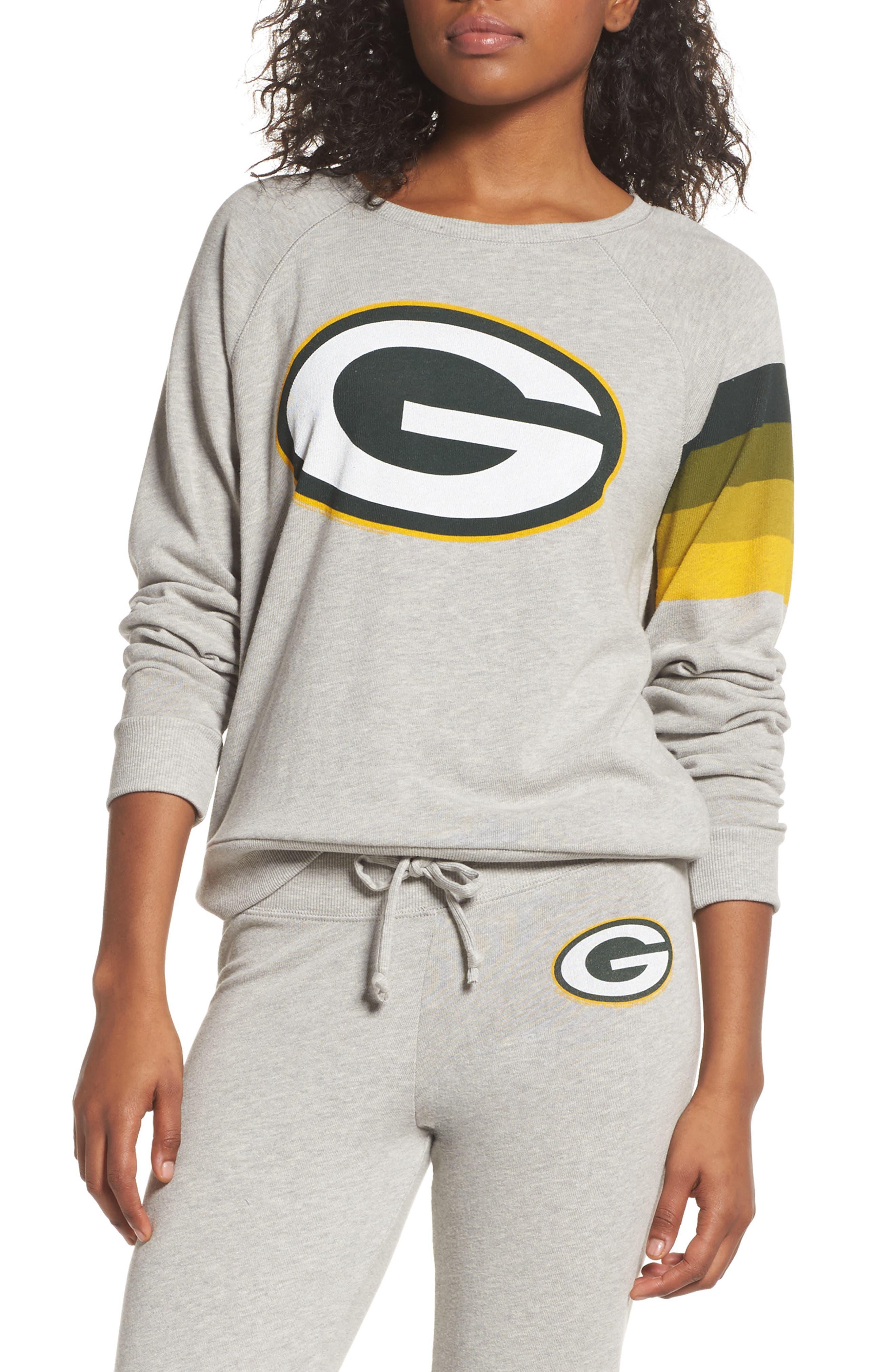 NF Green Bay Packers Hacci Sweatshirt,                             Main thumbnail 1, color,                             Dove Heather Grey