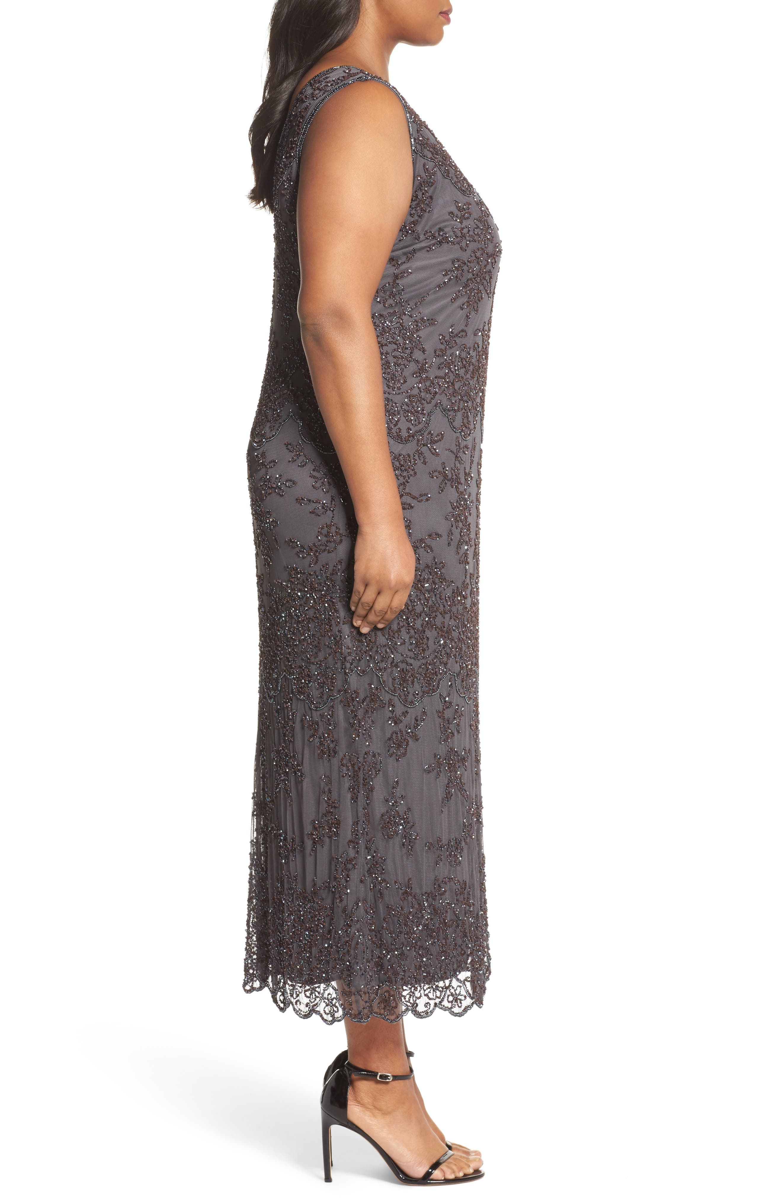Alternate Image 3  - Pisarro Nights Embellished Bateau Neck Long Dress (Plus Size)