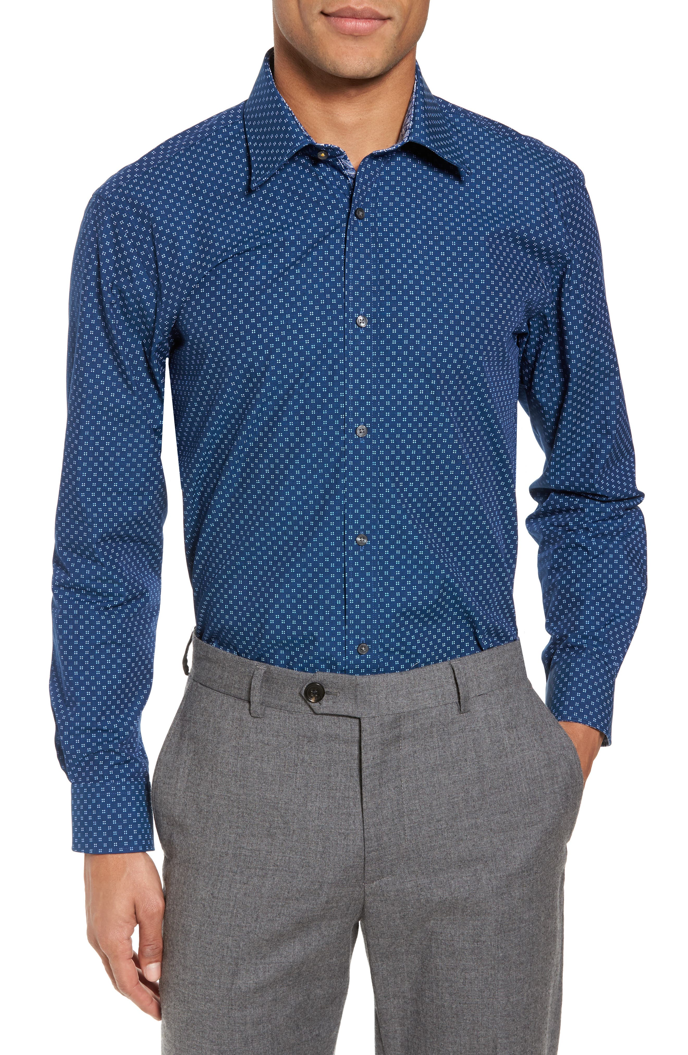 Alternate Image 2  - Ted Baker London Endurance Trim Fit Geo Print Dress Shirt