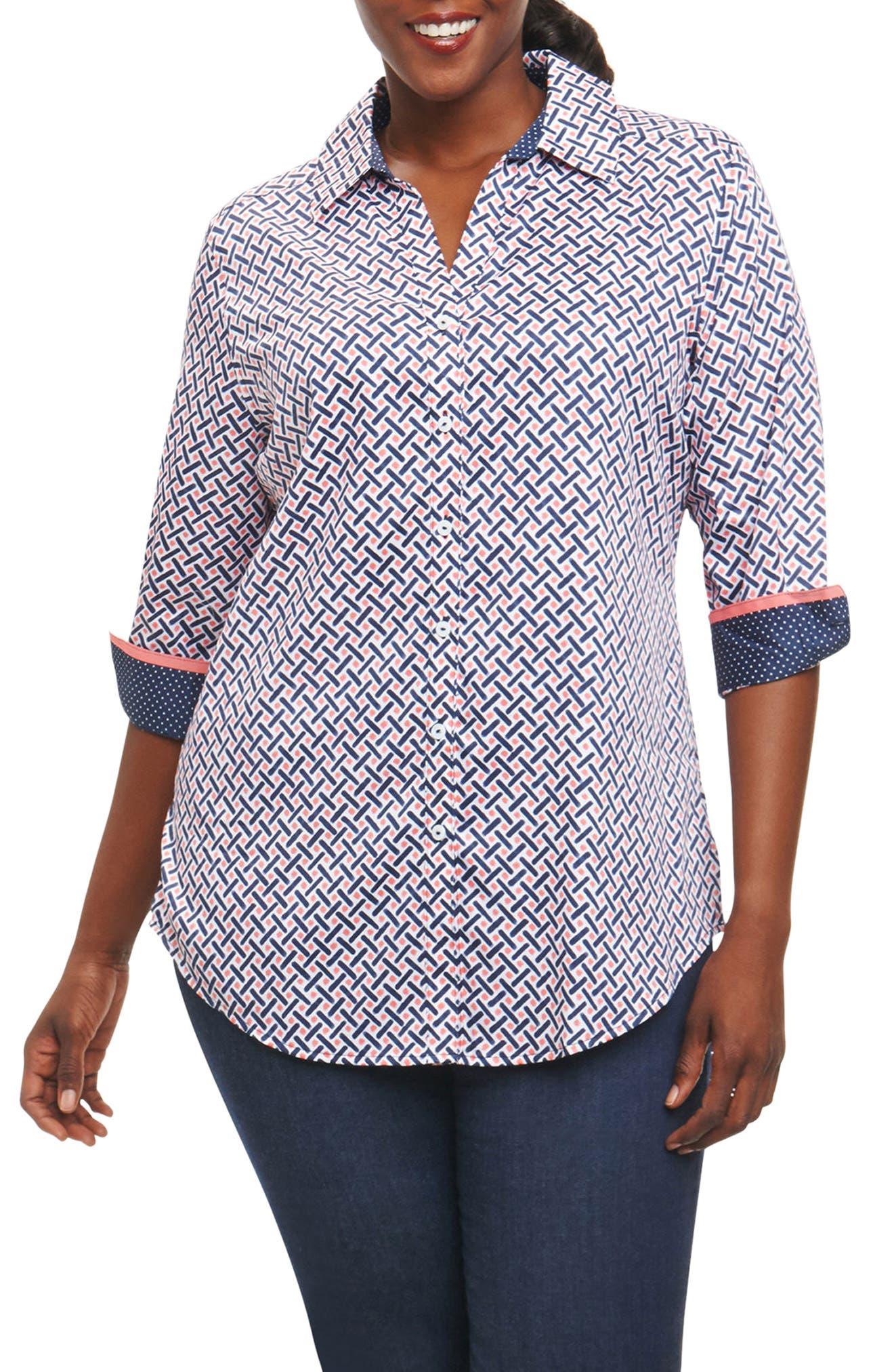 Faith Geo Print Shirt,                             Main thumbnail 1, color,                             Navy Multi