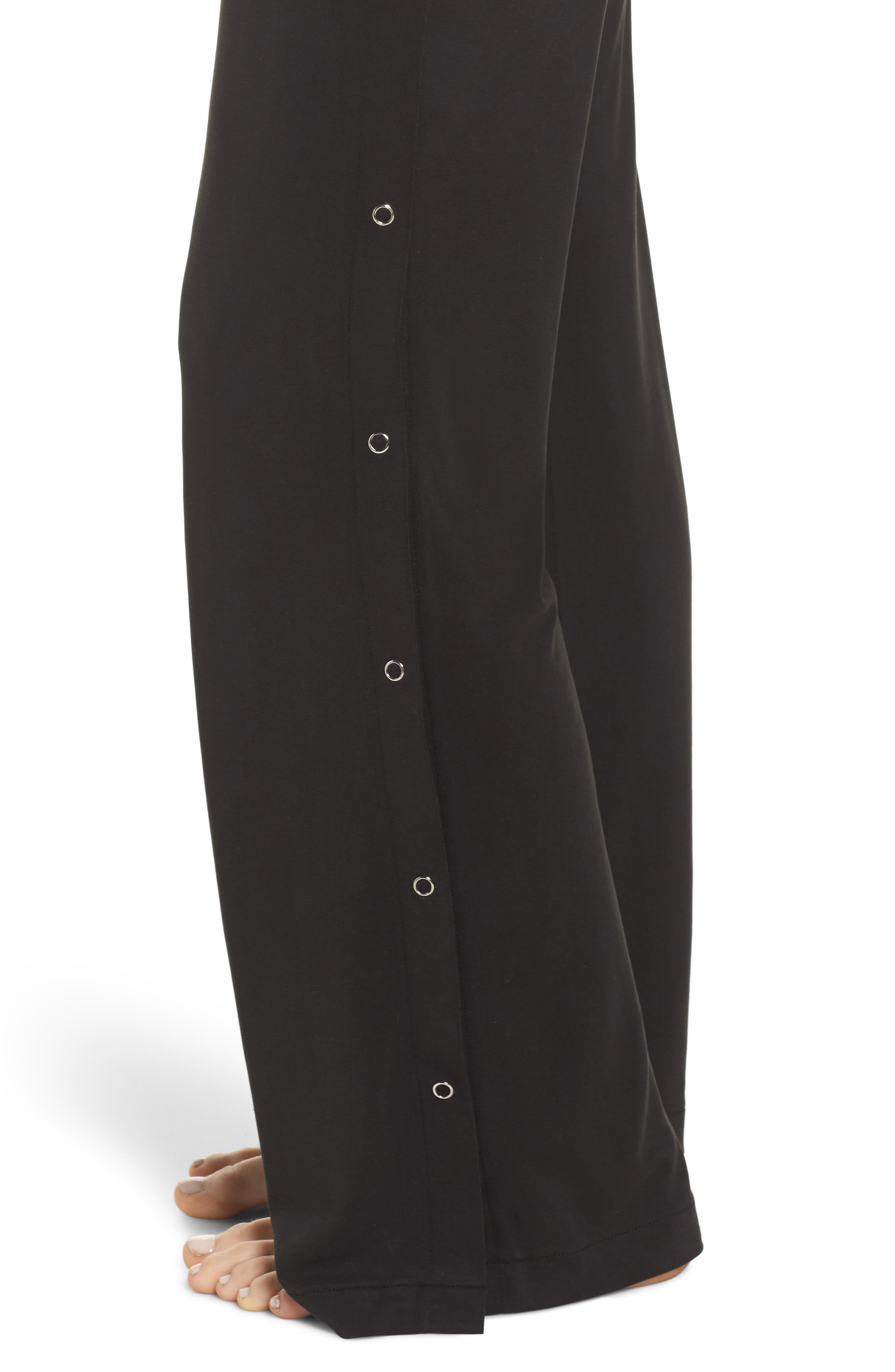 Higgens Side Snap Lounge Pants,                             Alternate thumbnail 6, color,                             Black